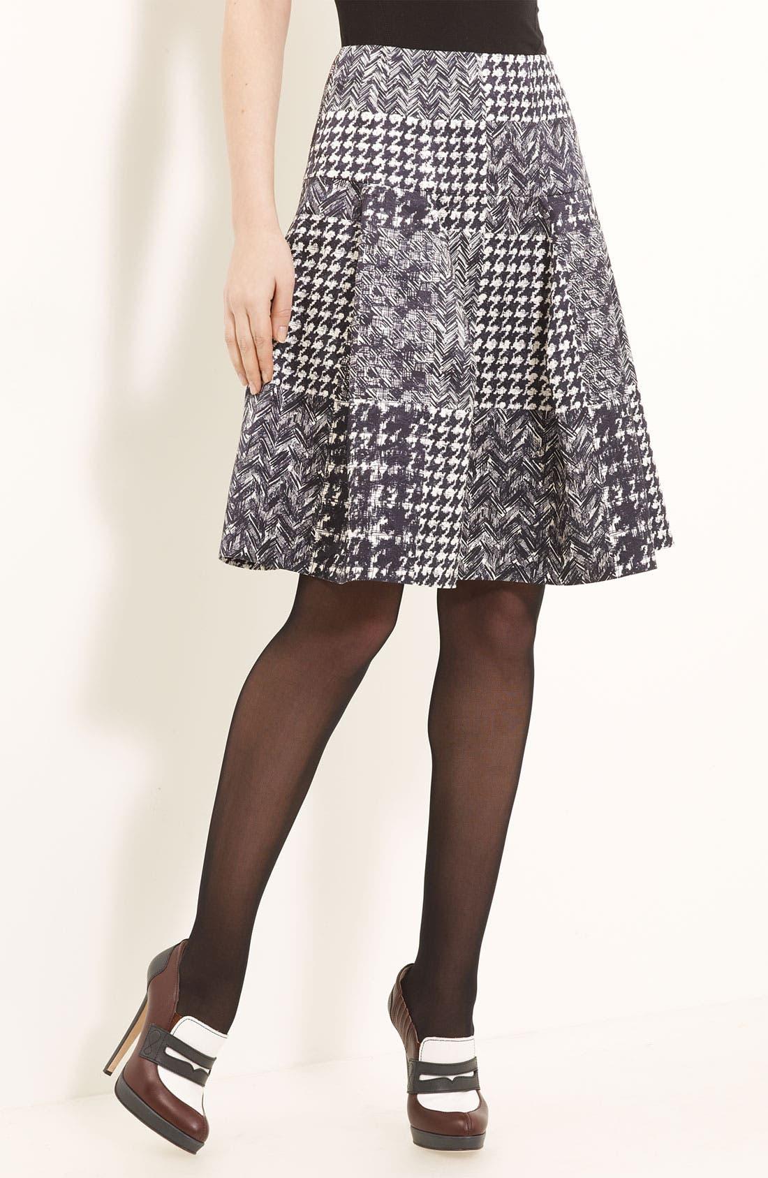 Alternate Image 1 Selected - Oscar de la Renta Tweed & Matelassé Patchwork Skirt