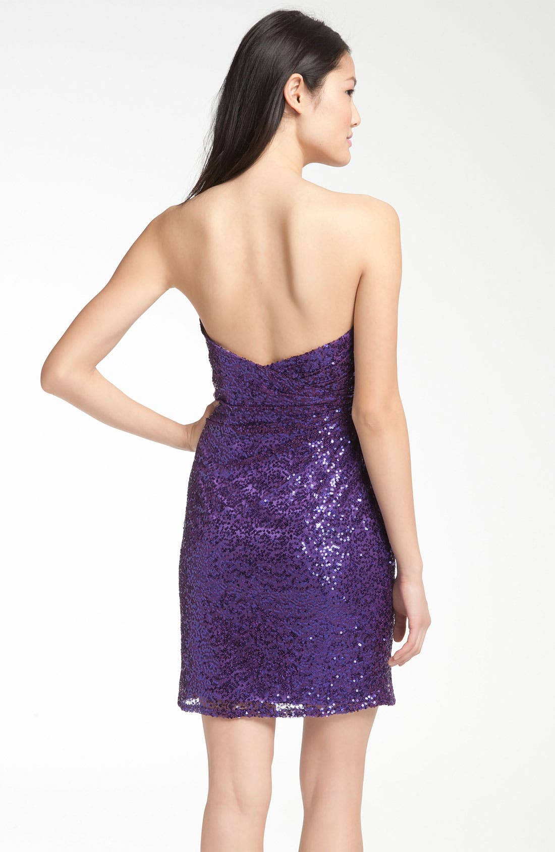 Alternate Image 2  - La Femme Sweetheart Neck Sequin Cocktail Dress