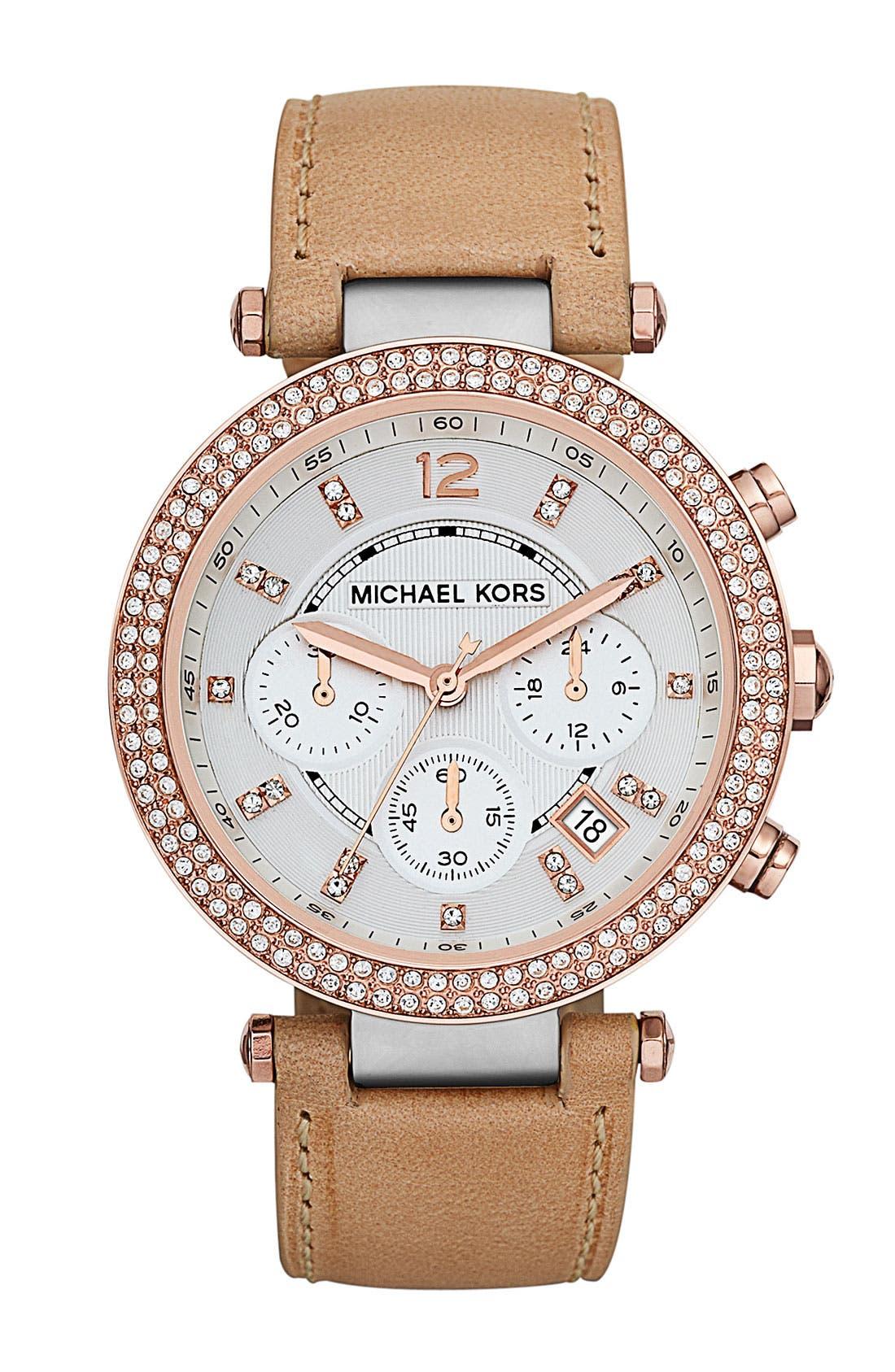 Main Image - Michael Kors 'Parker' Chronograph Leather Watch