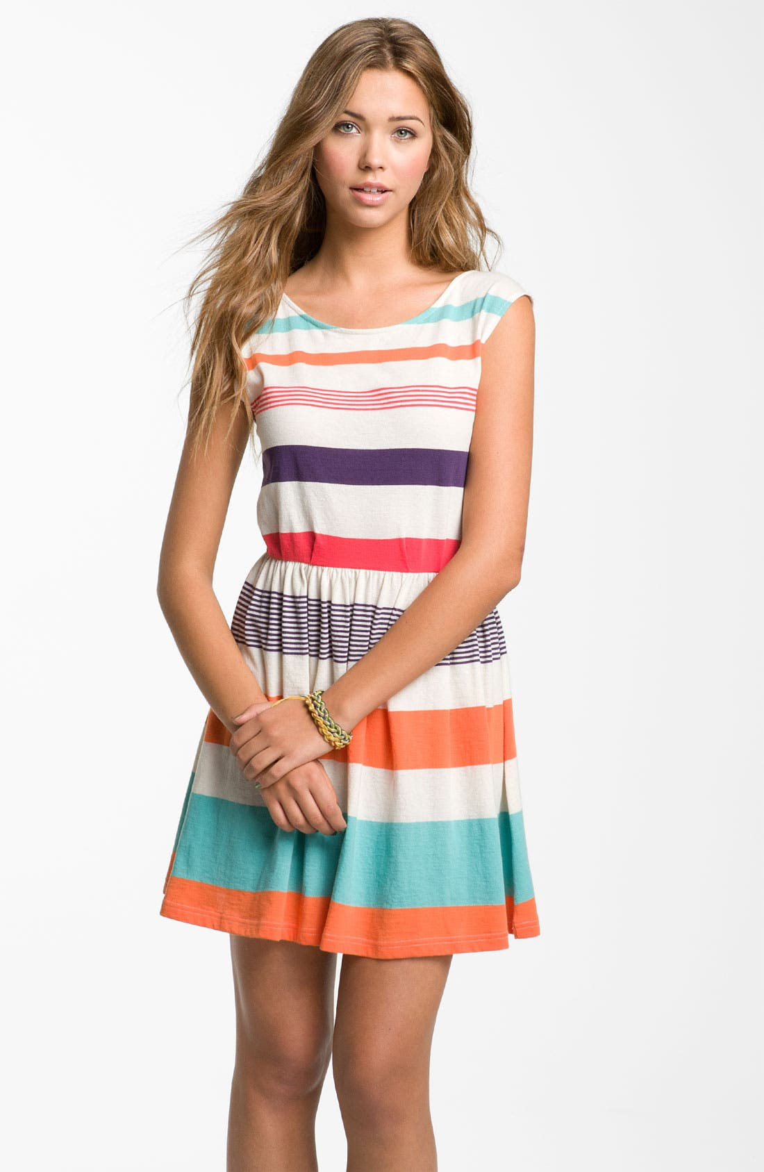 Alternate Image 1 Selected - Rubbish® Stripe V-Back Dress (Juniors)