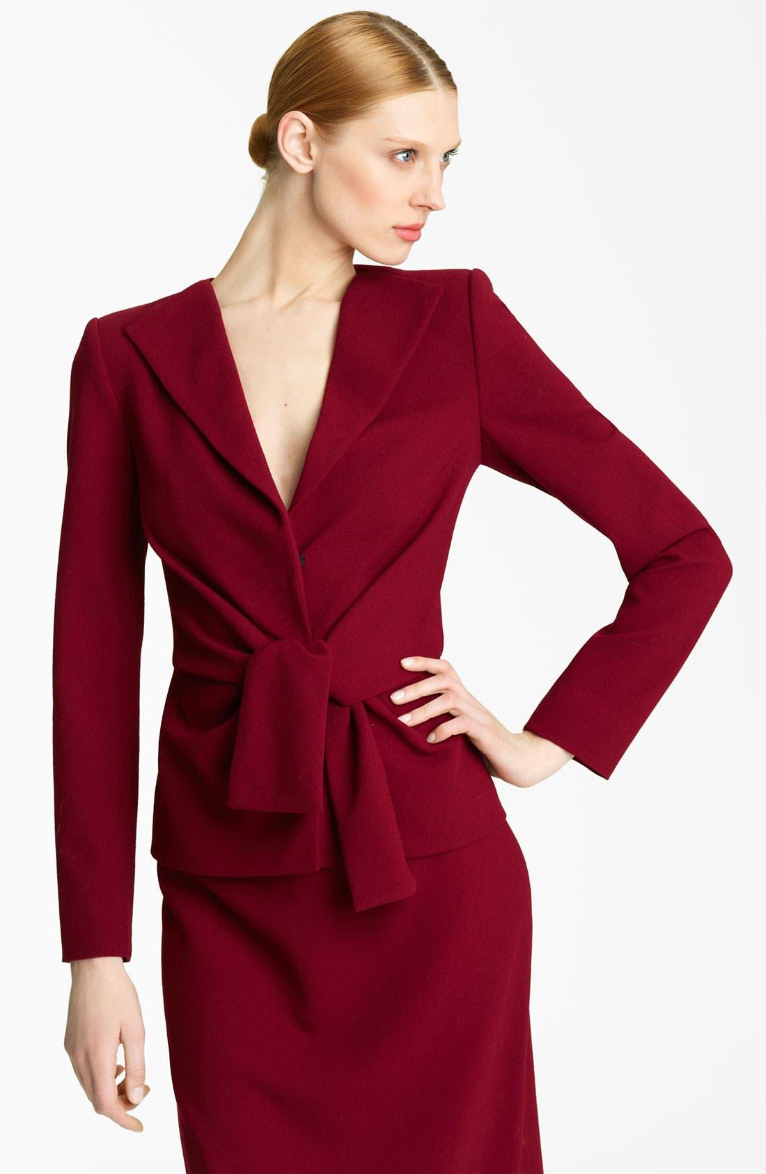 Main Image - Oscar de la Renta Tie Waist Wool Crepe Jacket