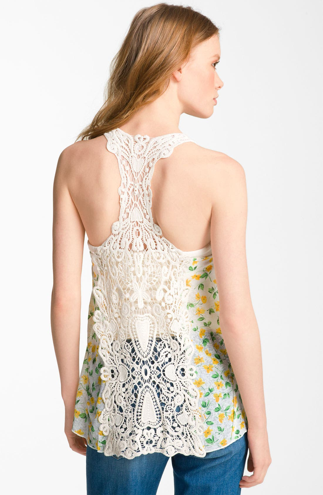 Alternate Image 2  - Free People 'Izzy' Print Crochet Back Flyaway Tank