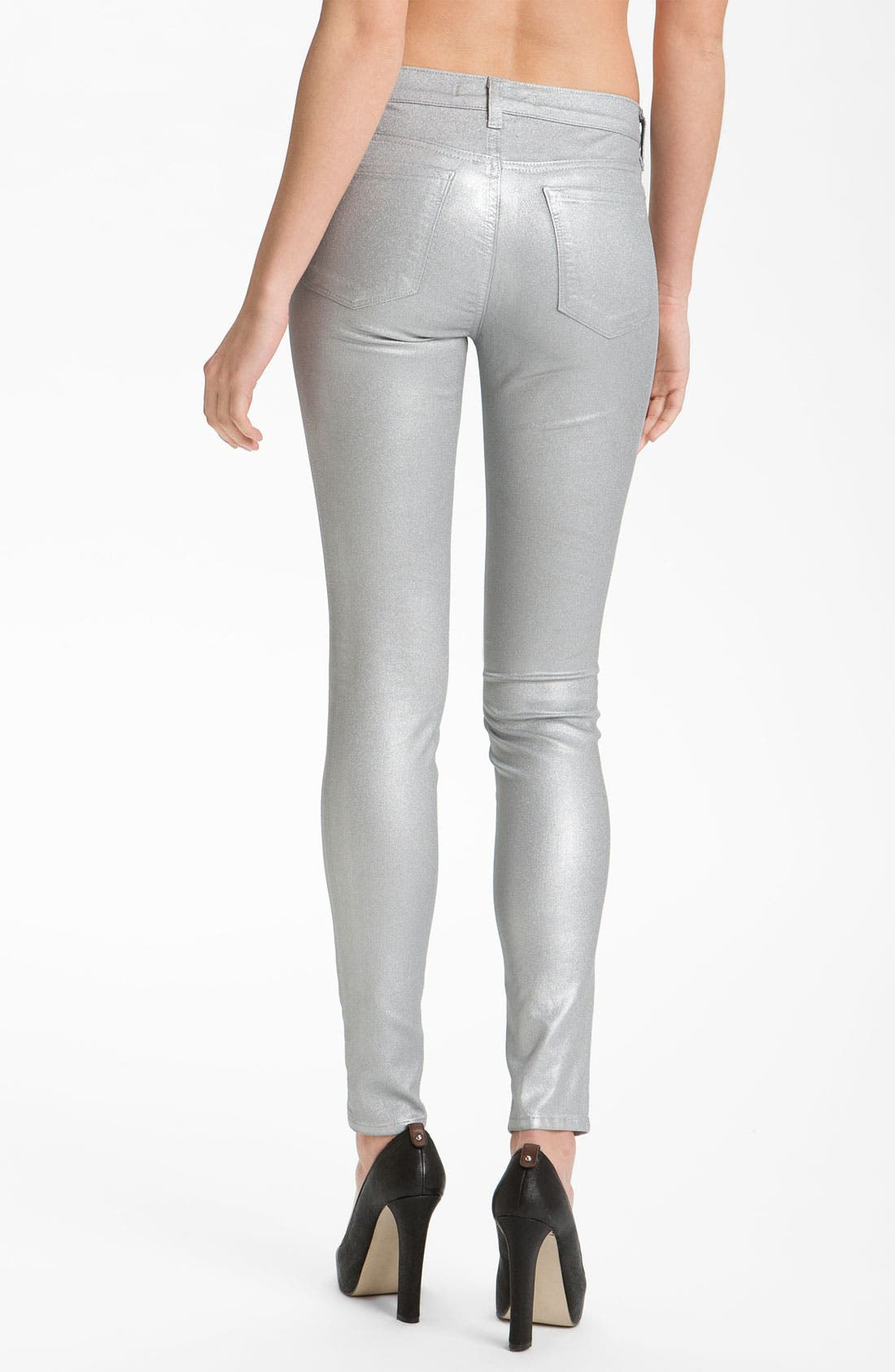 Alternate Image 2  - J Brand Stretch Denim Leggings (Coated Silver Sparkle)
