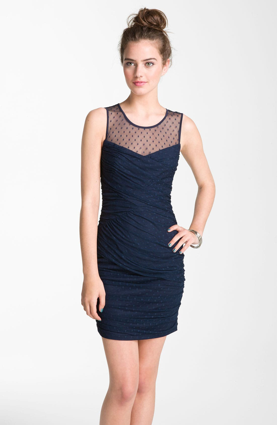 Main Image - En Crème Swiss Dot Draped Illusion Minidress (Juniors)