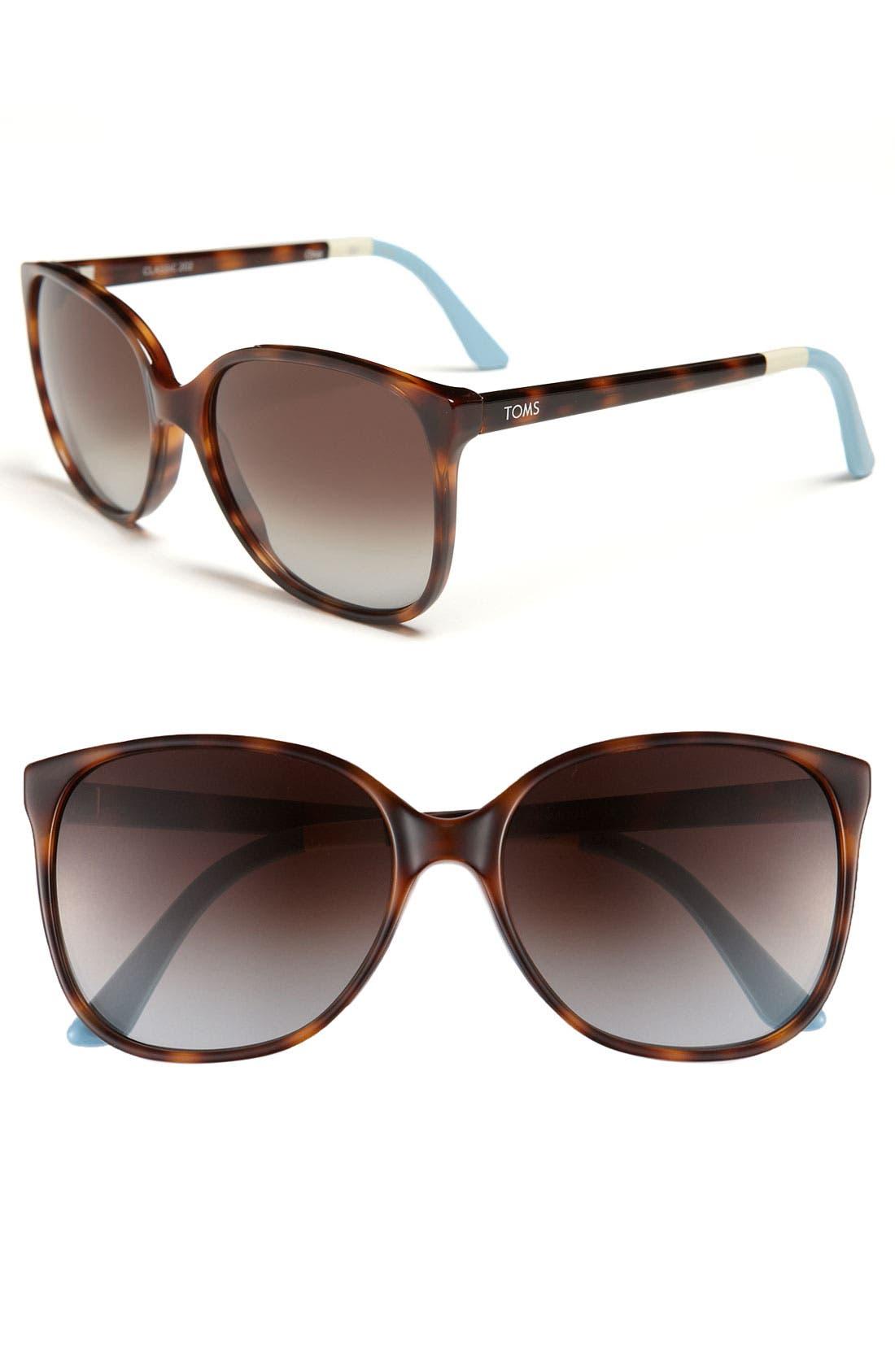 'Sandela' 57mm Sunglasses,                         Main,                         color, Tortoise/ Ivory/ Light Blue