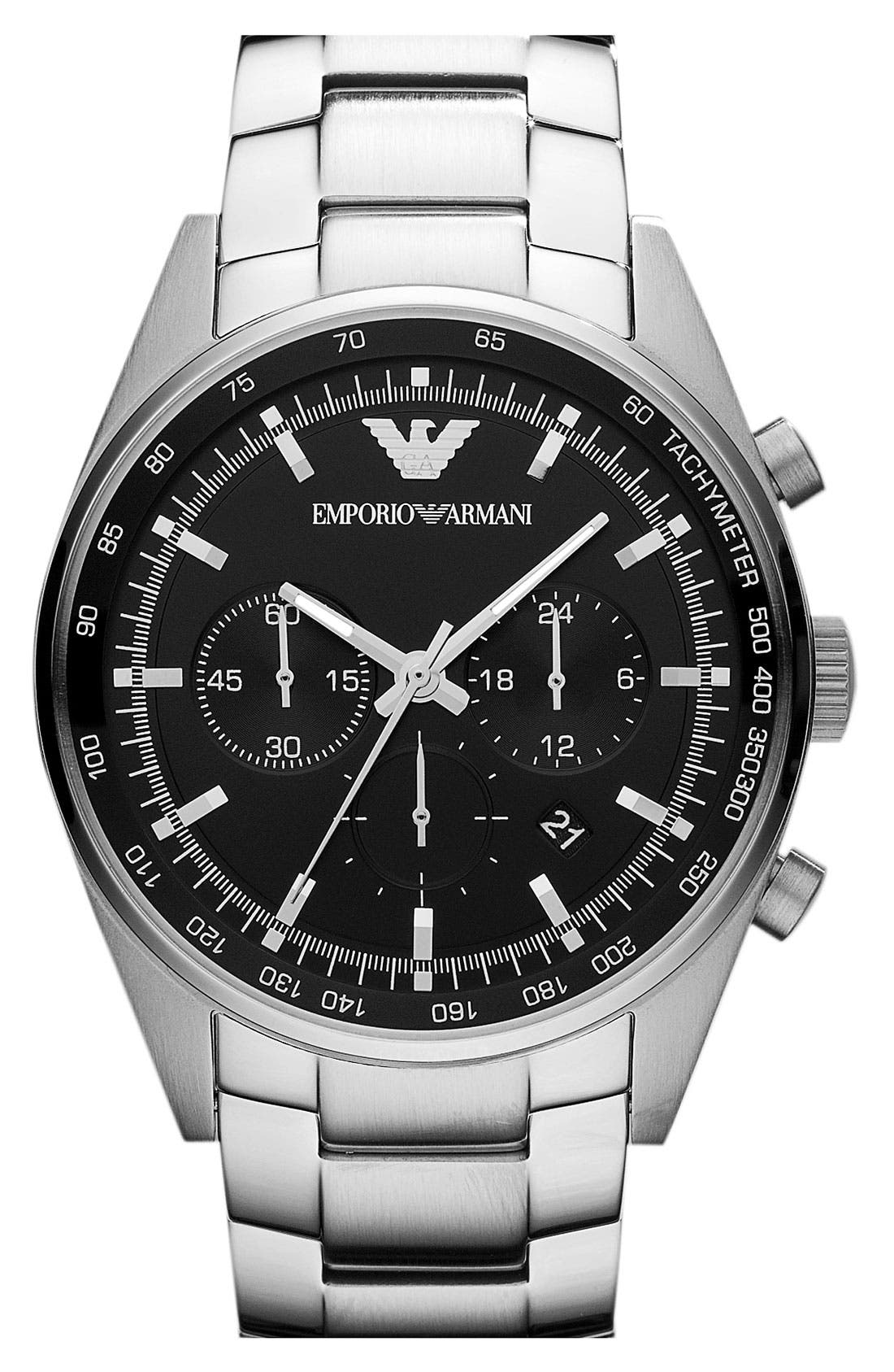 Alternate Image 1 Selected - Emporio Armani Round Stainless Steel Bracelet Watch
