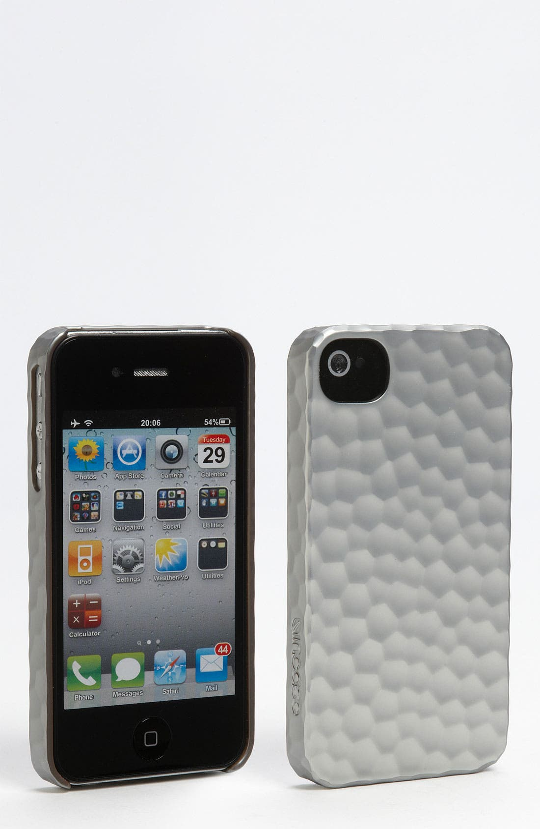 'Iron Hammered' iPhone 4 & 4S Snap Case,                             Main thumbnail 1, color,                             Silver