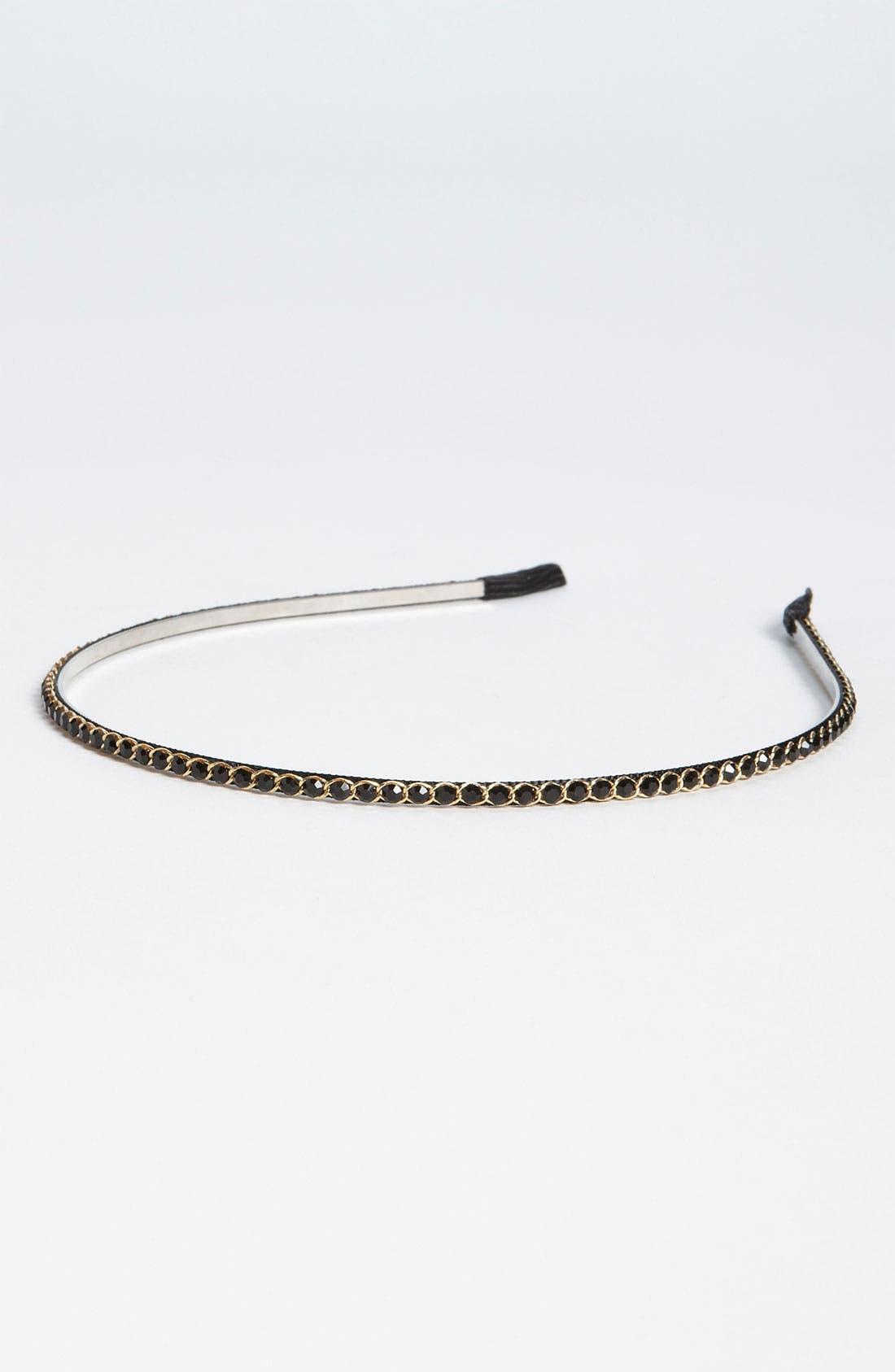 Skinny Crystal Headband,                         Main,                         color, Black
