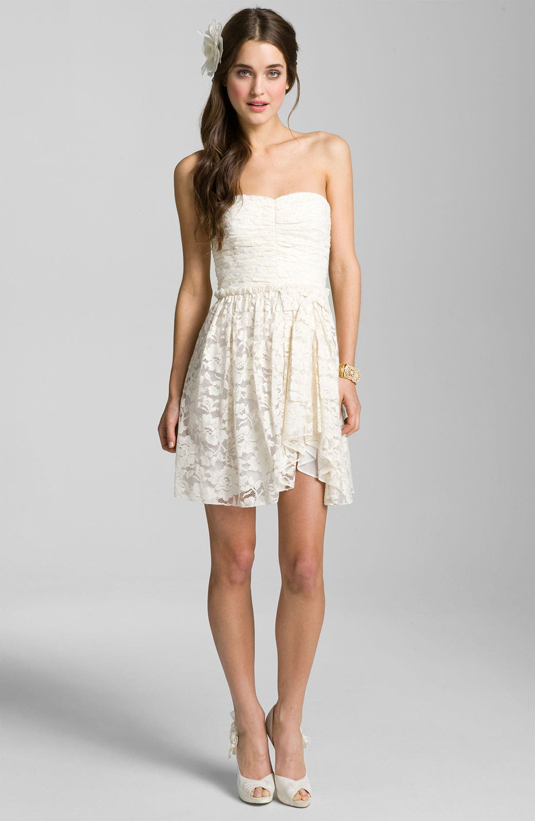 Sweetheart Lace Dress,                             Alternate thumbnail 3, color,                             Ivory