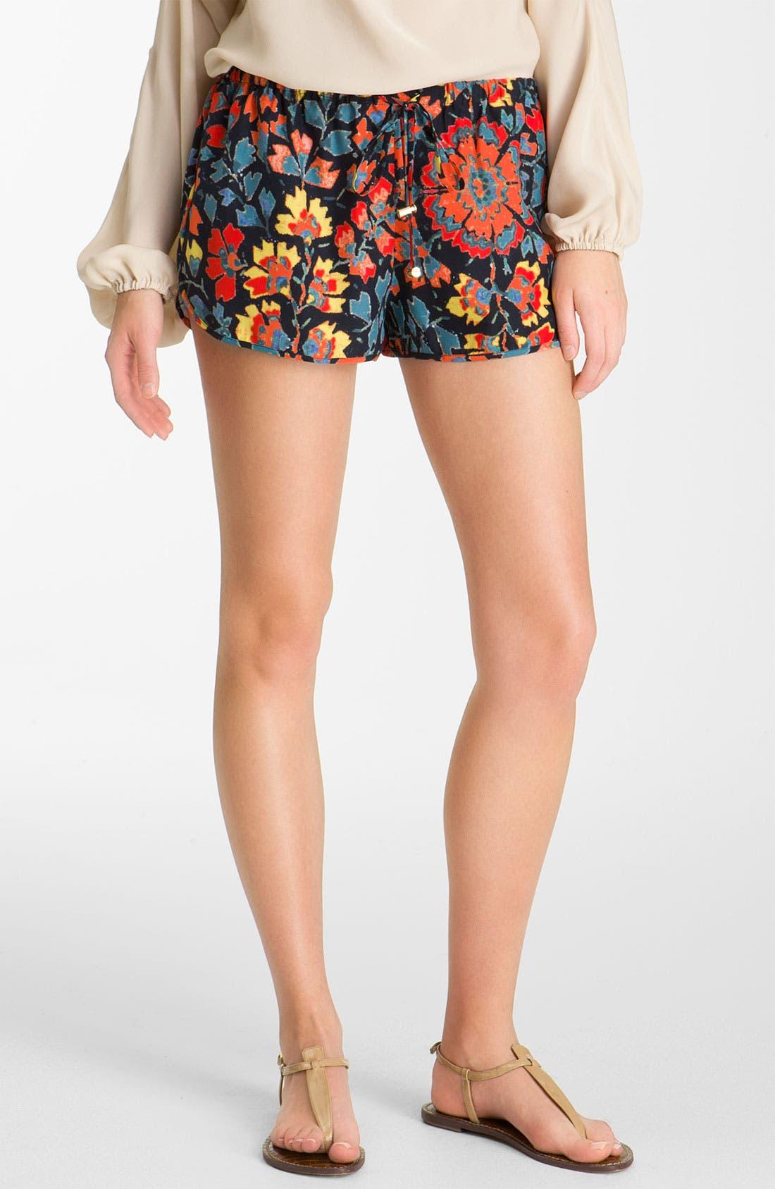 Main Image - Haute Hippie Print Drawstring Silk Shorts