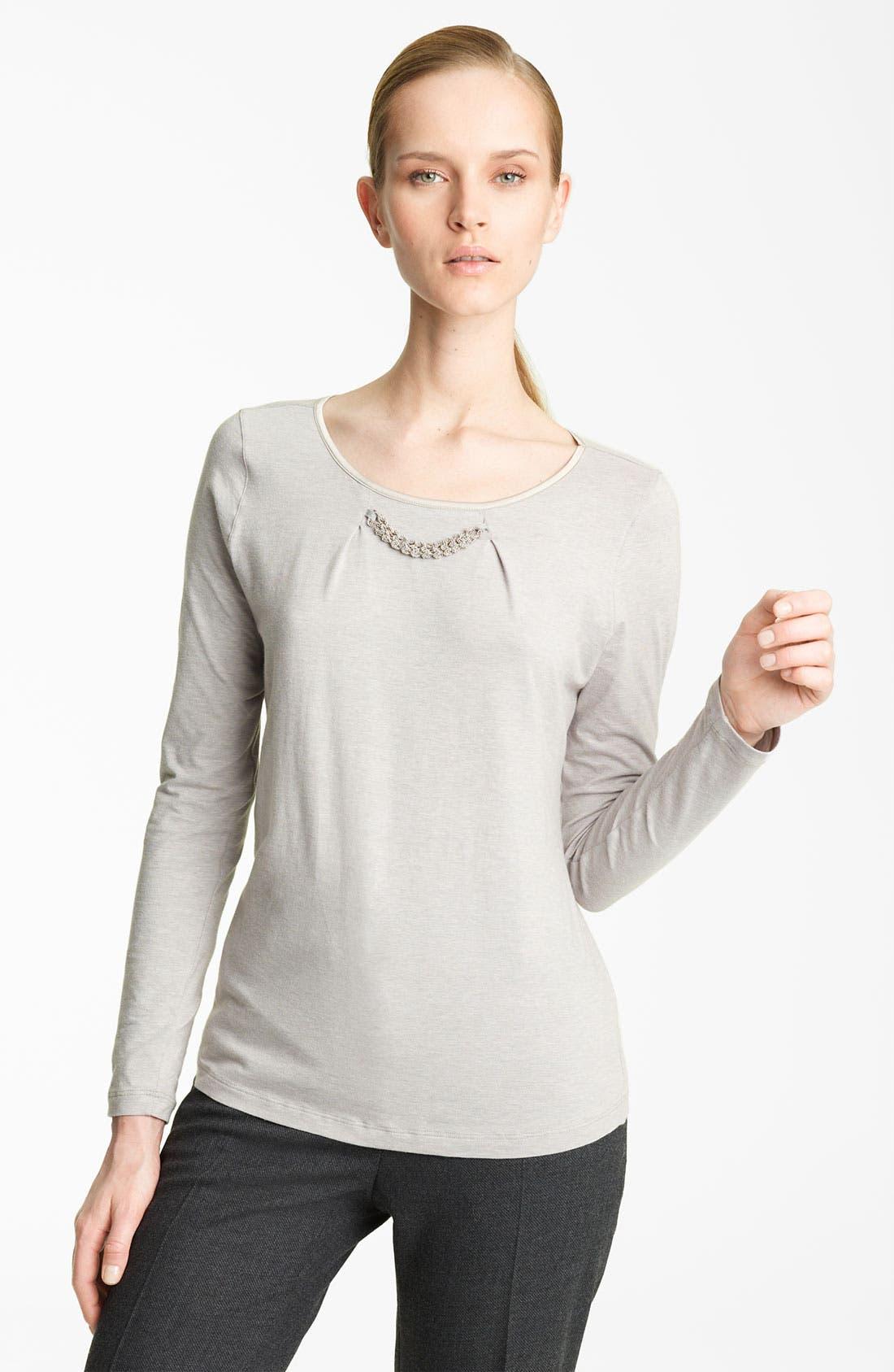 Alternate Image 1 Selected - Fabiana Filippi Embellished Neck Jersey Tee