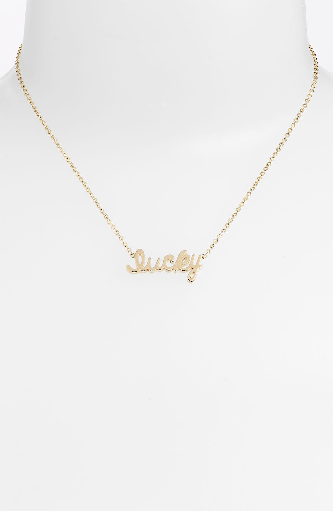 Alternate Image 1 Selected - Ariella Collection 'Messages - Lucky' Script Pendant Necklace (Nordstrom Exclusive)