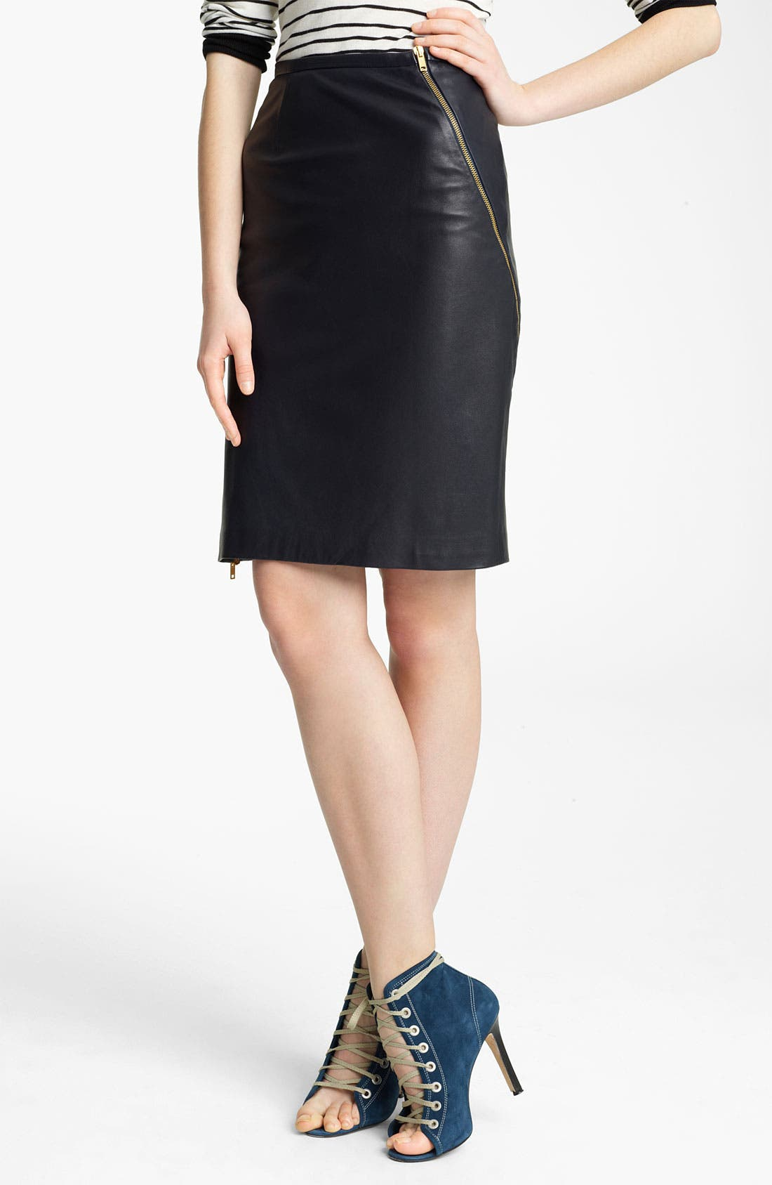 Main Image - Band of Outsiders Leather Pencil Skirt