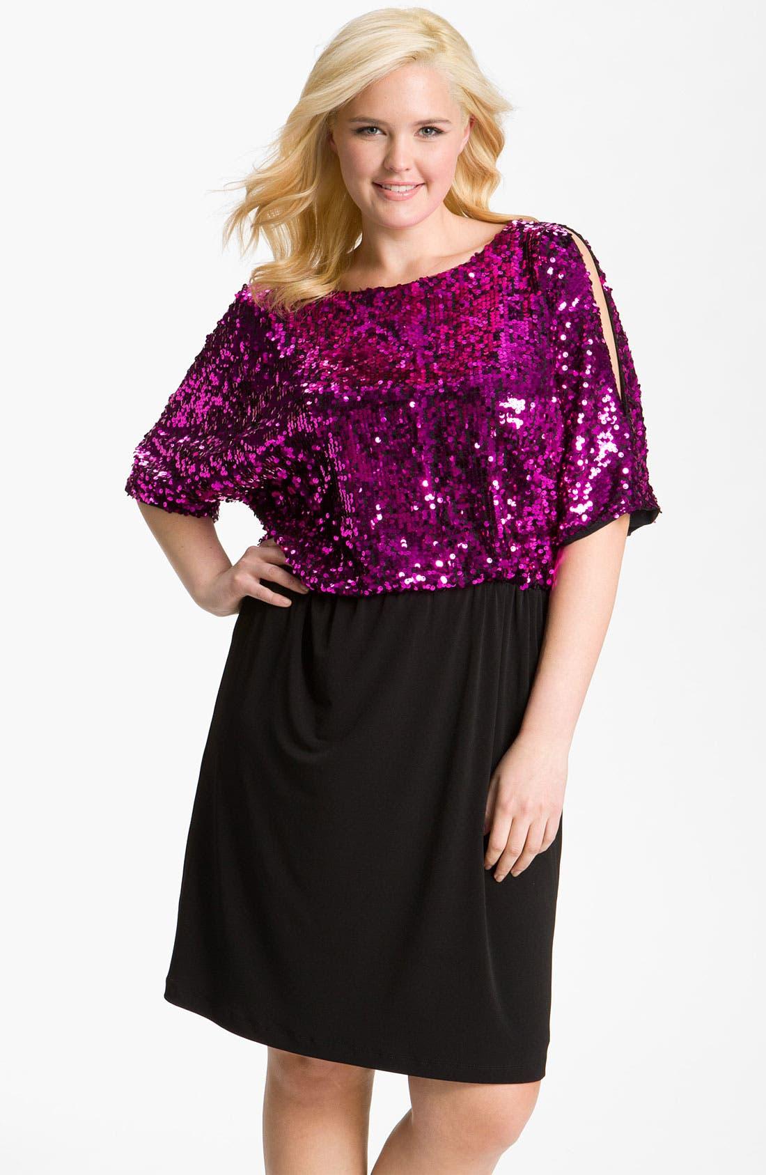 Main Image - Donna Ricco Sequin Blouson Dress (Plus)