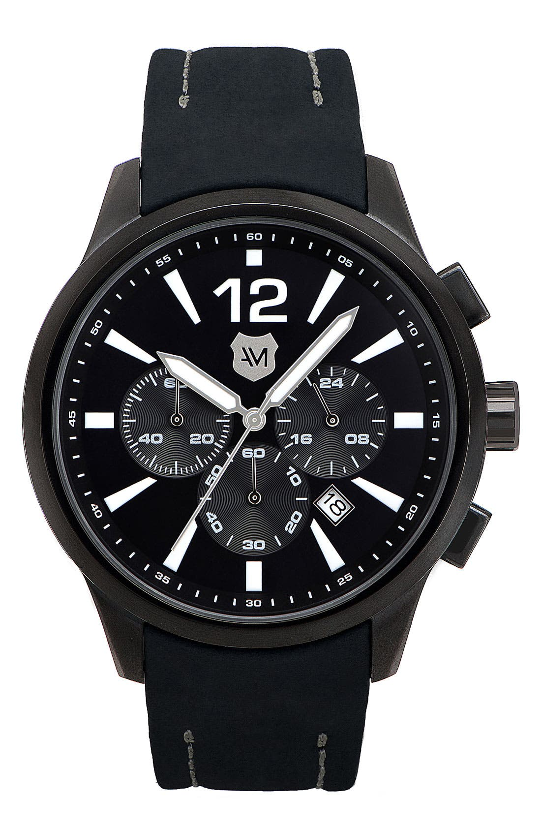 Alternate Image 1 Selected - Andrew Marc Watches 'Club Varsity' Leather Strap Watch