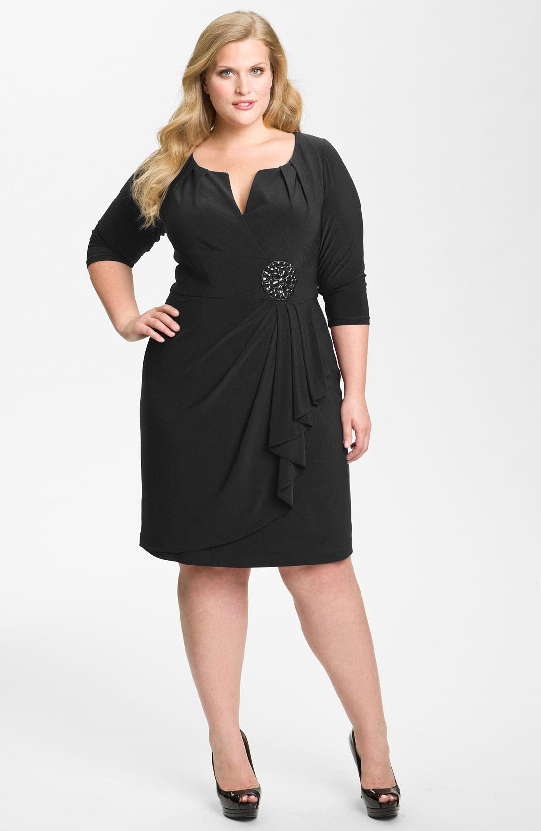 Main Image - Adrianna Papell Embellished Matte Jersey Sheath Dress (Plus Size)