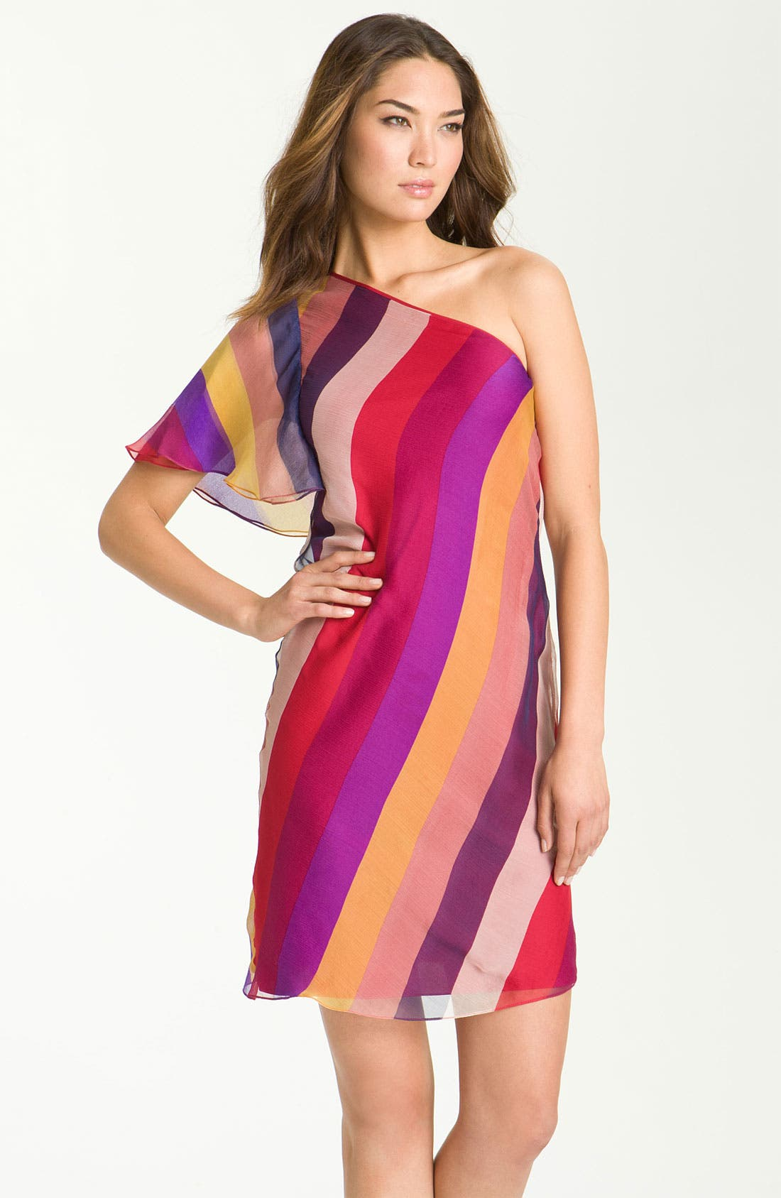 Main Image - Catherine Malandrino One Shoulder Stripe Silk Dress
