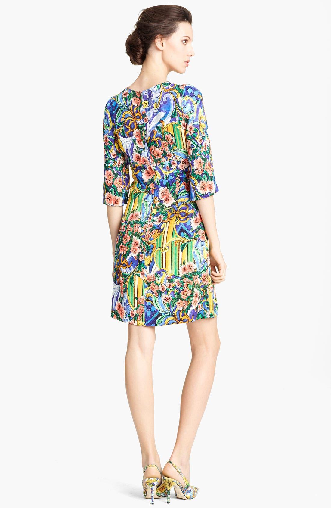Alternate Image 2  - Dolce&Gabbana Floral Print Stretch Cady Dress