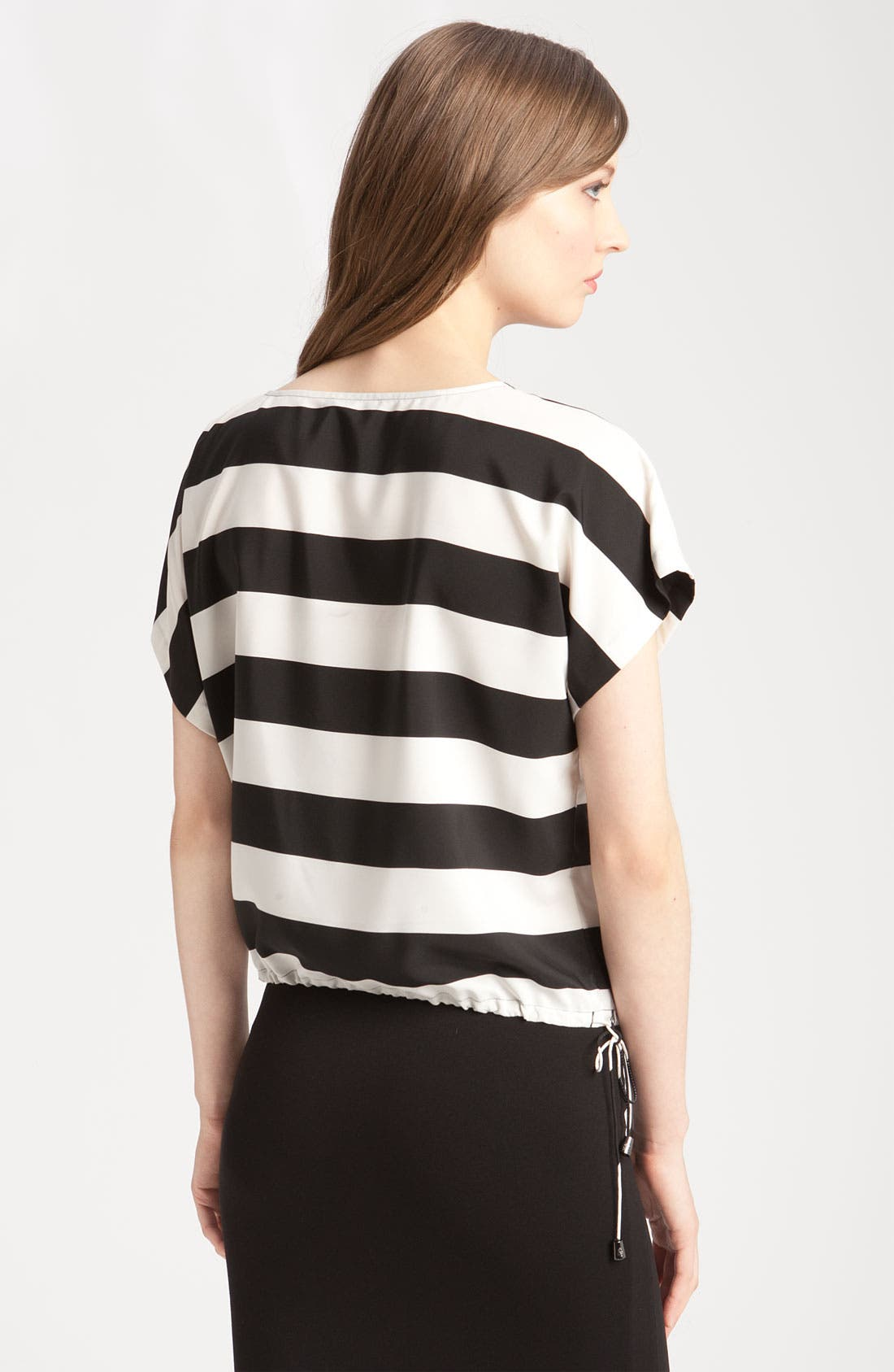 Stripe Blouse with Drawstring Hem,                             Alternate thumbnail 2, color,                             Rich Black