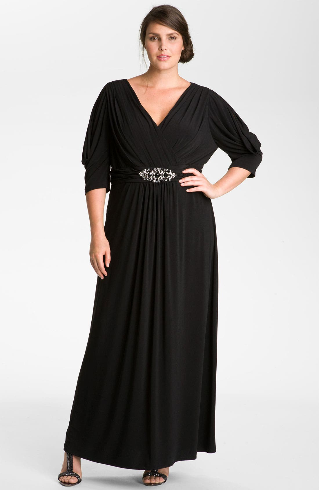 Alternate Image 1 Selected - Eliza J Embellished Matte Jersey Surplice Dress (Plus)