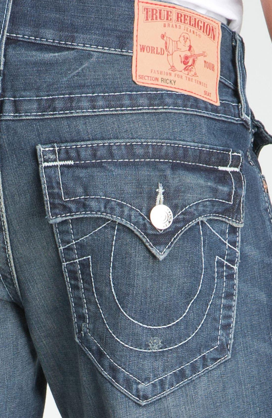 Alternate Image 4  - True Religion Brand Jeans 'Ricky - Natural' Straight Leg Jeans (Surfer Dark)