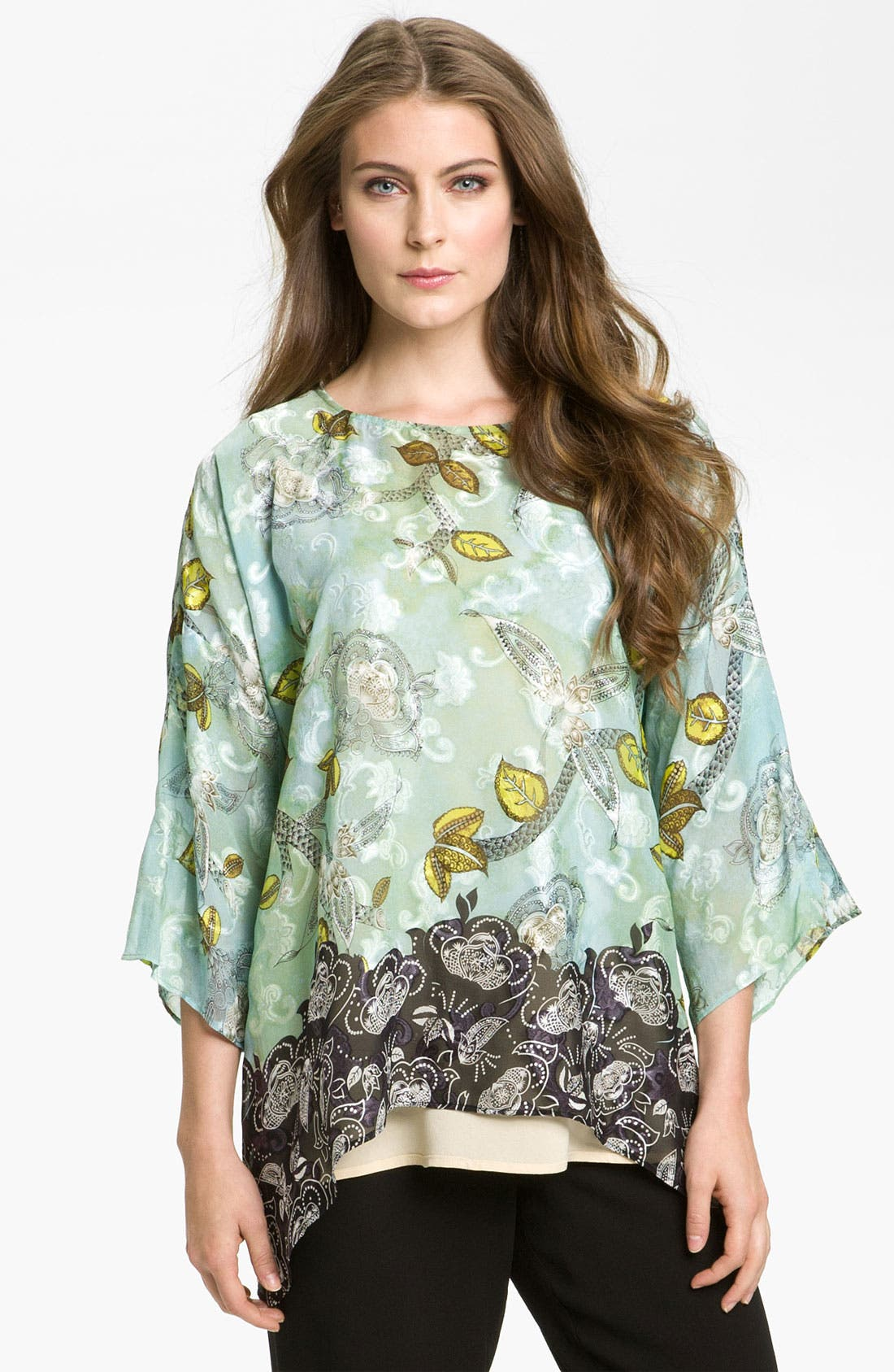 Alternate Image 1 Selected - Citron Crewneck Silk Blend Tunic