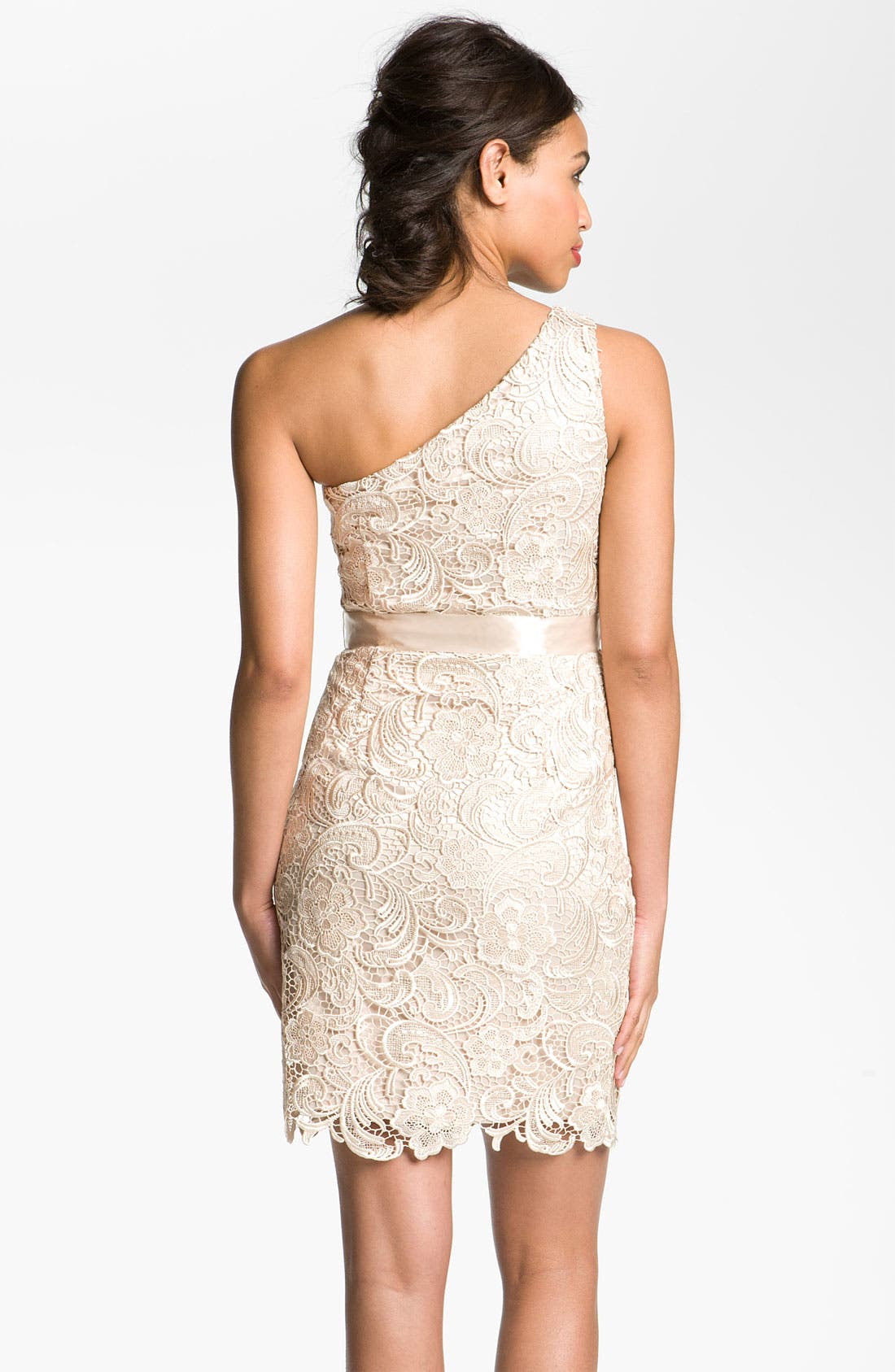 Alternate Image 2  - Adrianna Papell Lace One Shoulder Sheath Dress