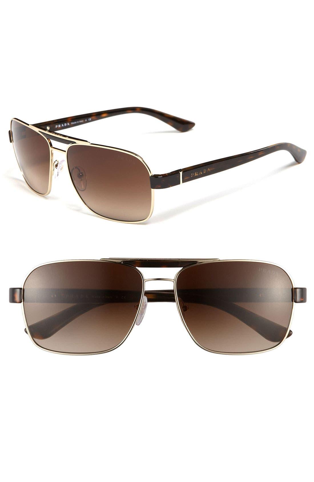 Main Image - Prada 60mm Aviator Sunglasses