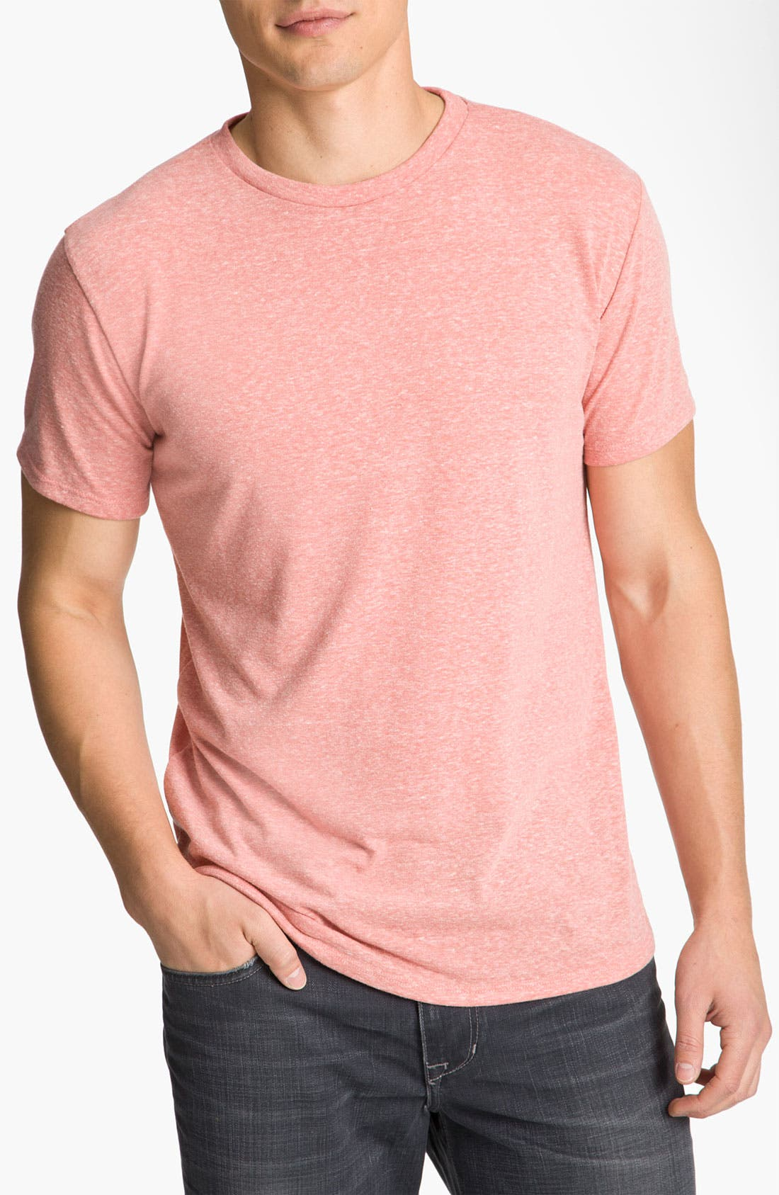 Heathered Crew Neck,                             Main thumbnail 1, color,                             Coral