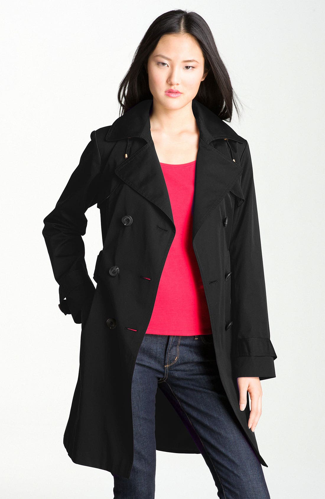 Alternate Image 3  - Ellen Tracy Double Breasted Trench with Detachable Hood (Nordstrom Exclusive)