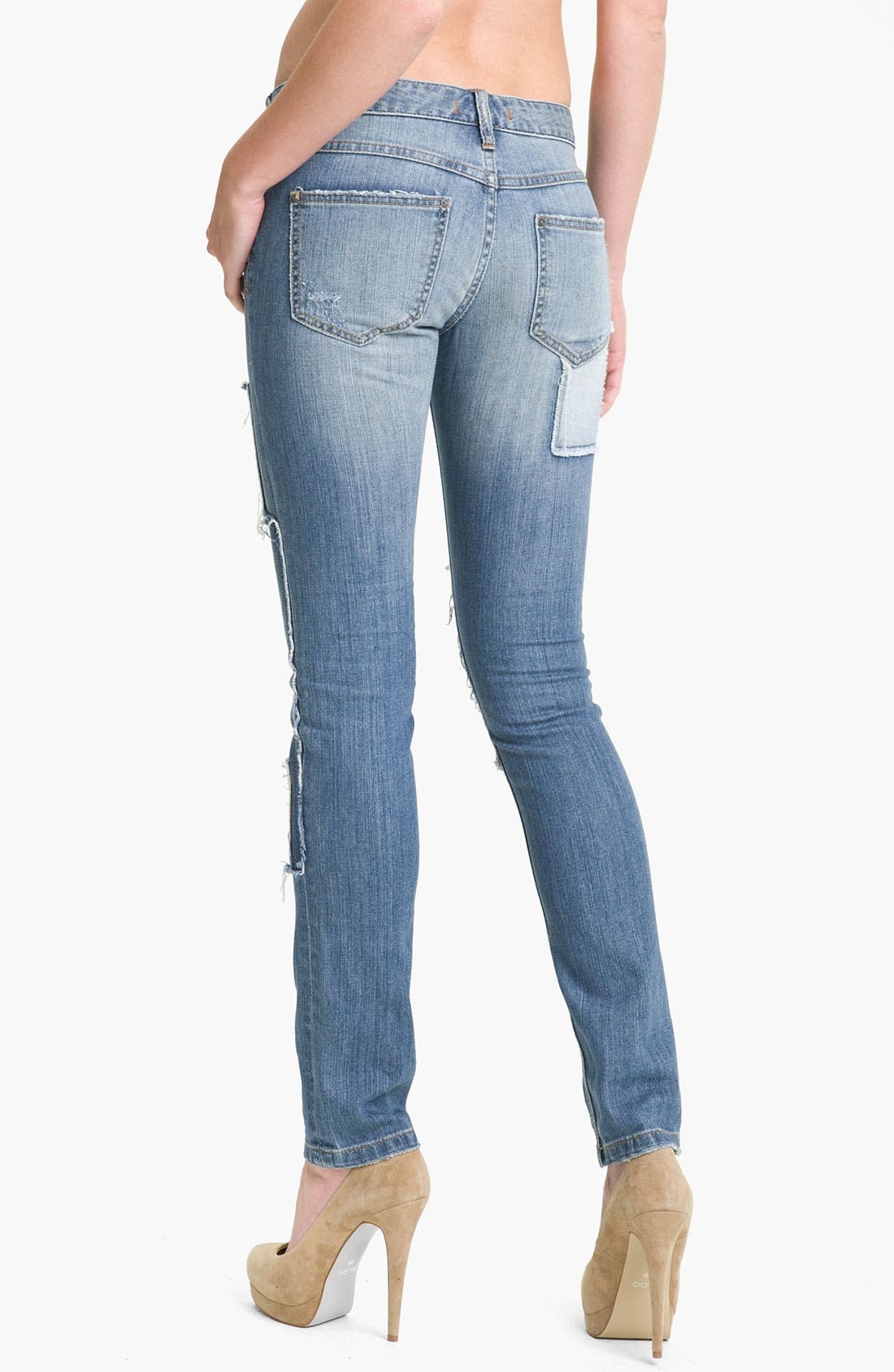 Alternate Image 2  - Free People Patched Skinny Jeans (Hillside)