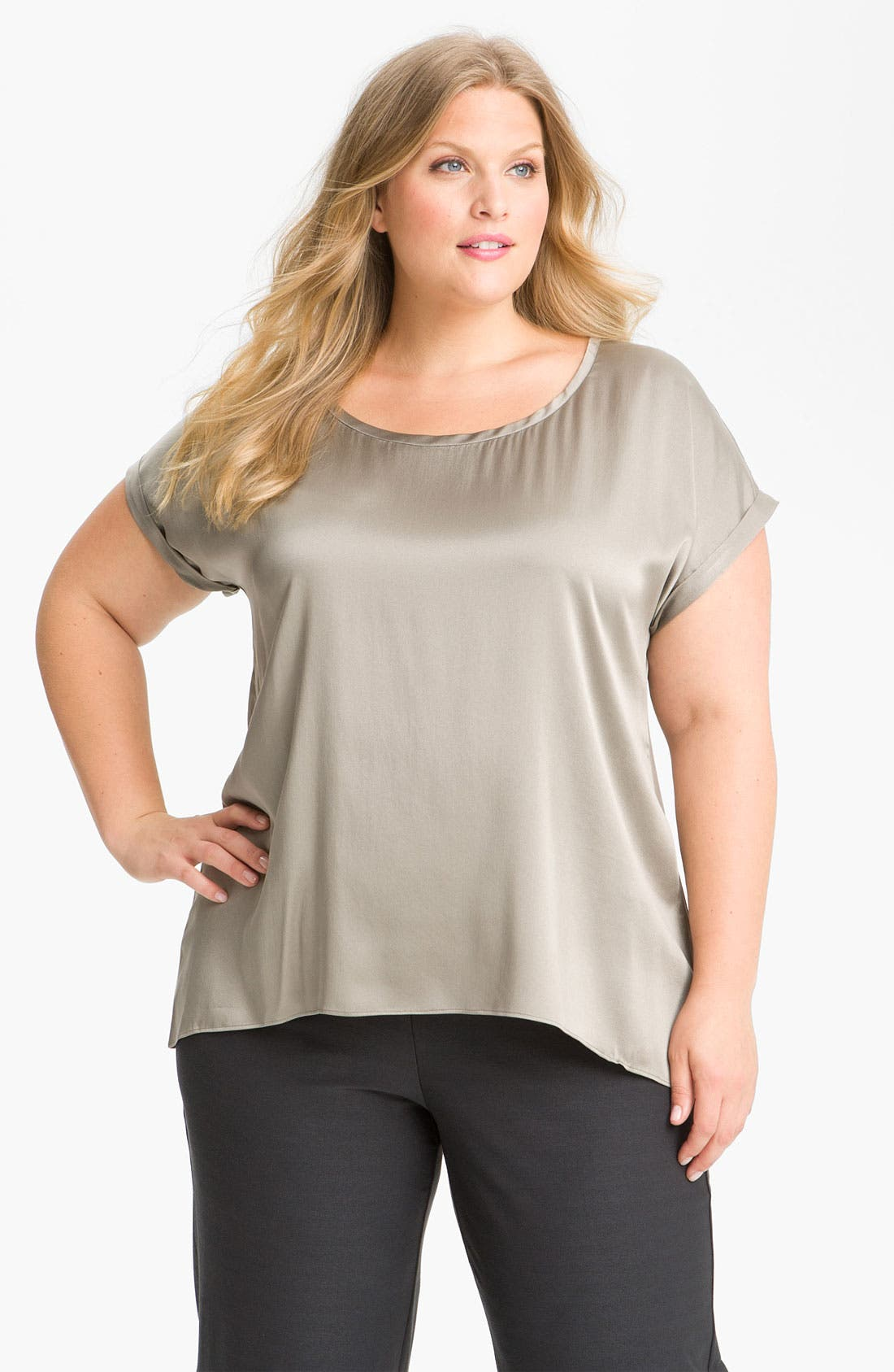 Alternate Image 1 Selected - Eileen Fisher Satin Finish Tee (Plus)
