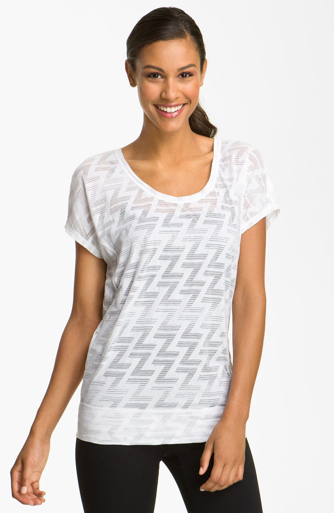 Sheer Pattern Short Sleeve Tee,                         Main,                         color, White