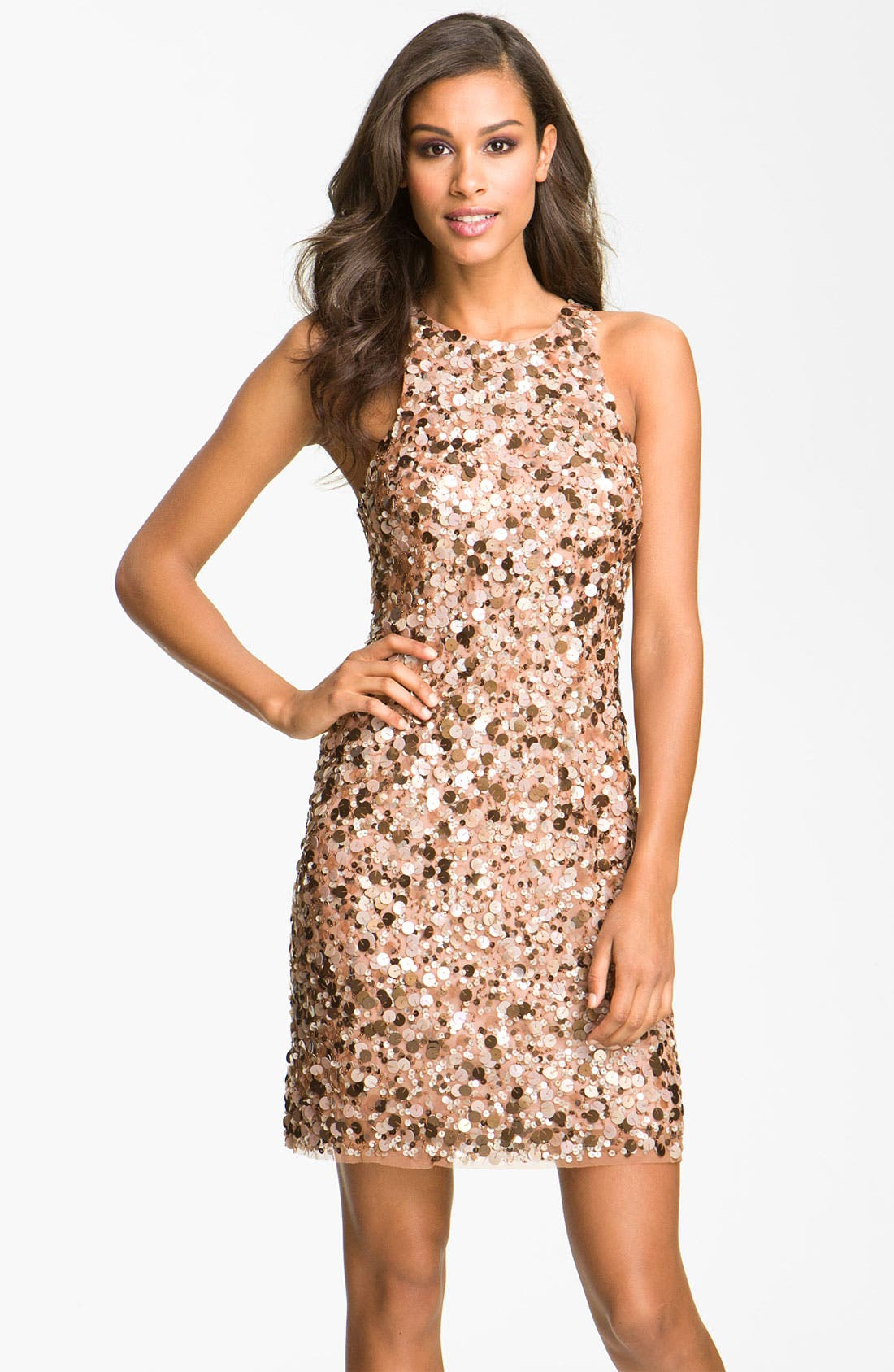 Main Image - Aidan Mattox Sequin High Collar Sheath Dress