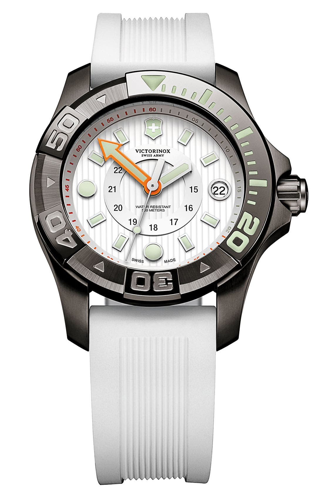 Alternate Image 1 Selected - Victorinox Swiss Army® 'Dive Master' Round Rubber Strap Watch, 38mm
