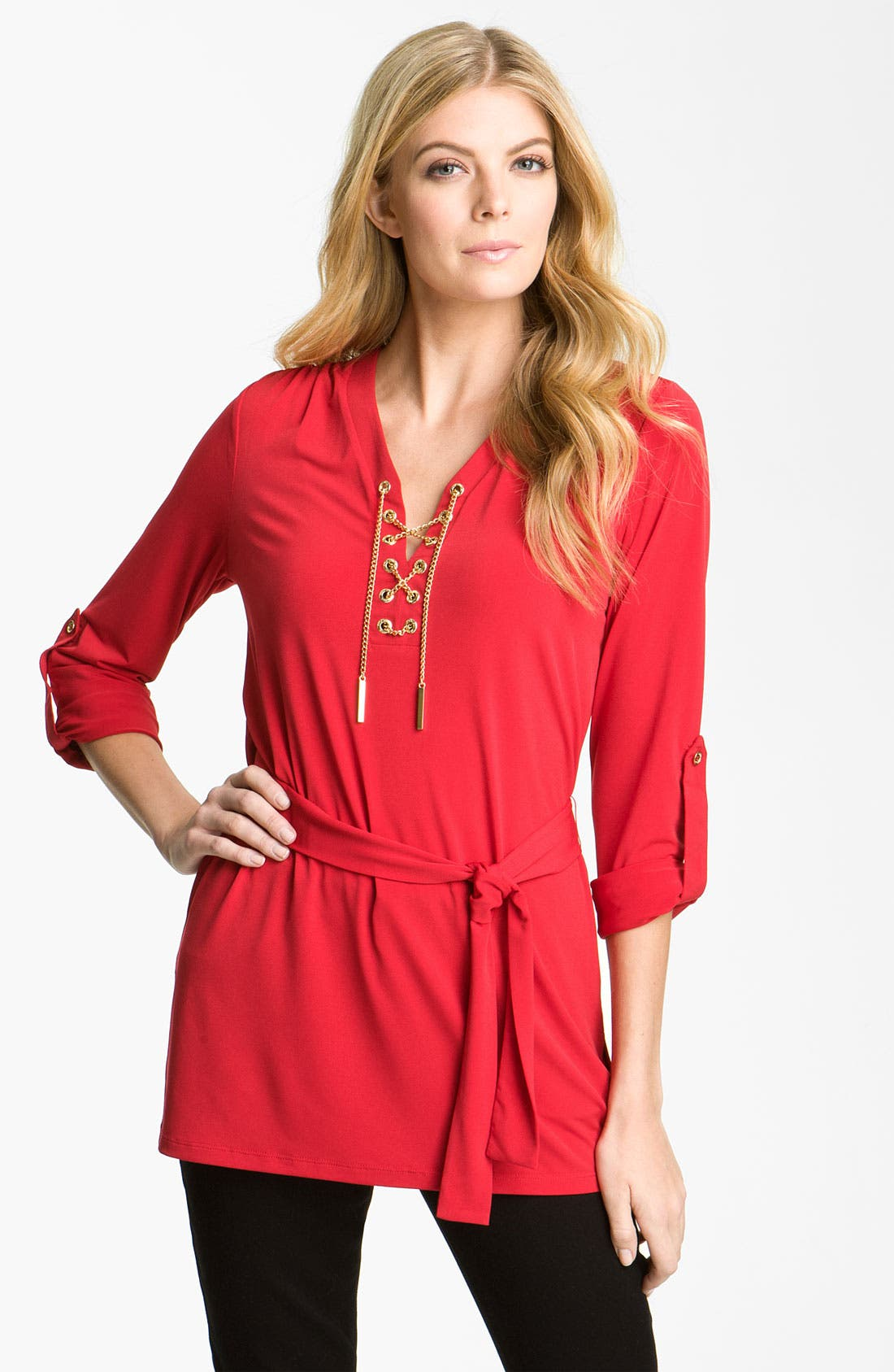 Alternate Image 1 Selected - MICHAEL Michael Kors Chain Lace-Up Knit Tunic