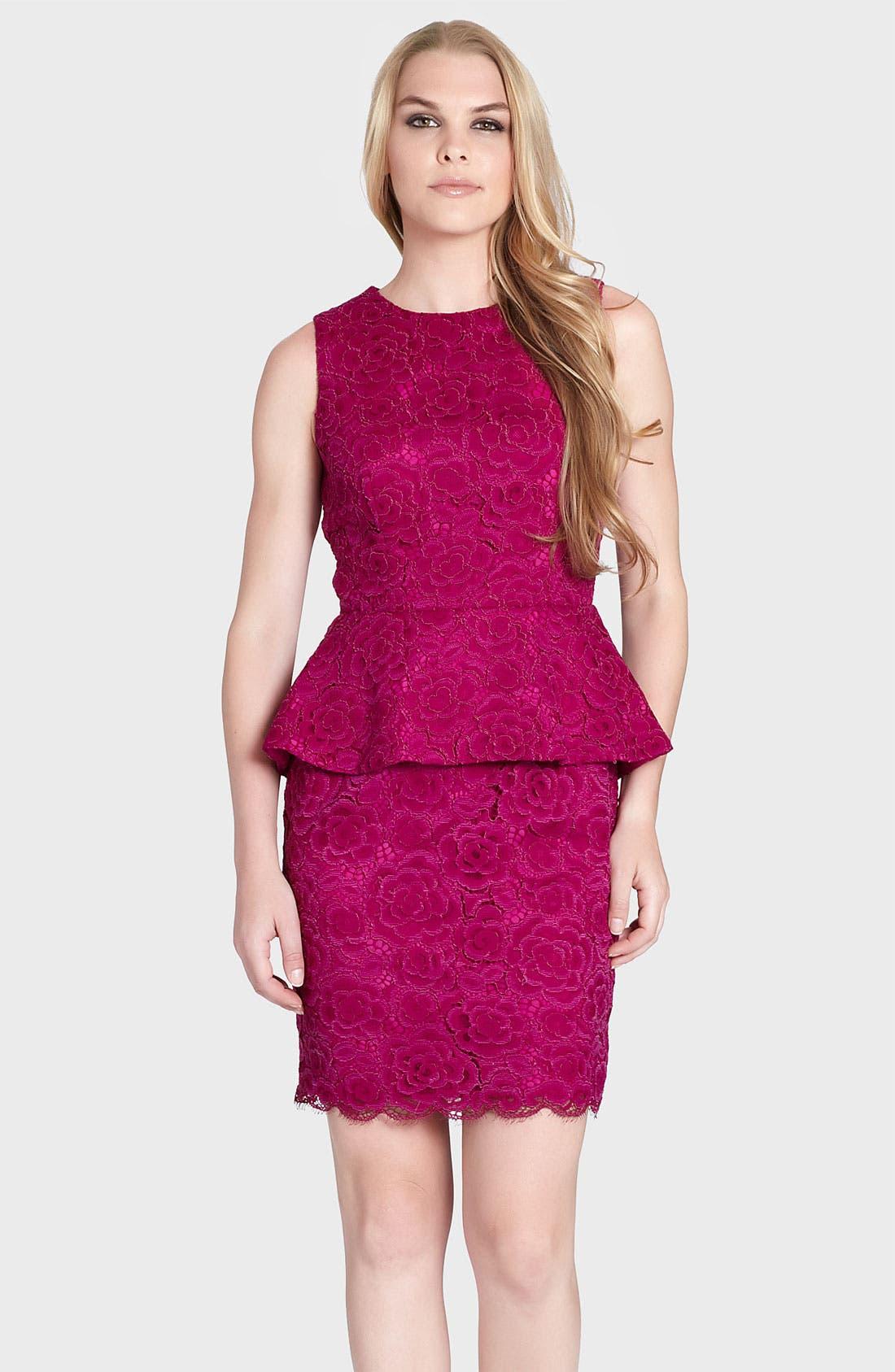 Alternate Image 1 Selected - Cynthia Steffe 'Camille' Peplum Lace Sheath Dress