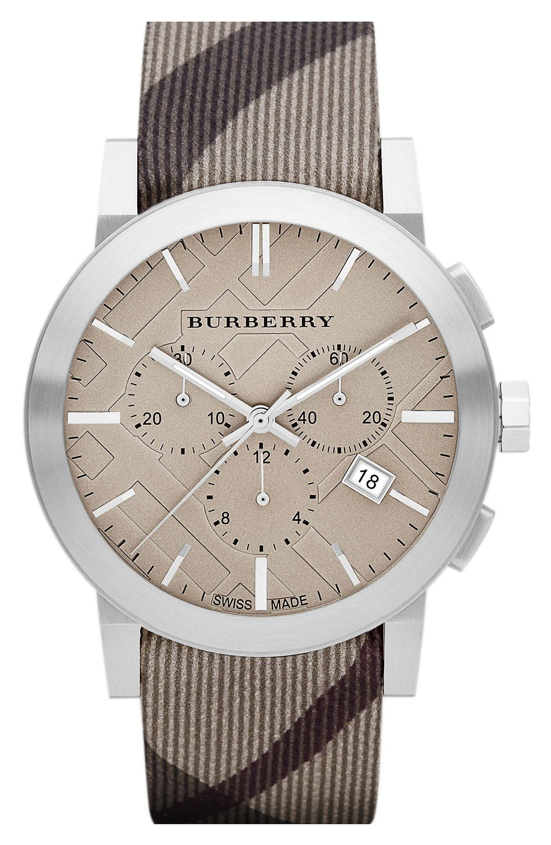 Alternate Image 1 Selected - Burberry Chronograph Check Strap Watch, 42mm