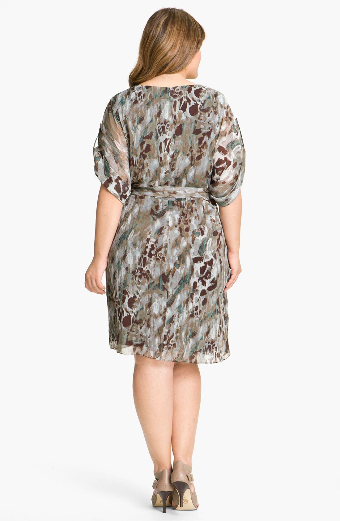 Alternate Image 2  - Adrianna Papell Print Faux Wrap Chiffon Dress (Plus)