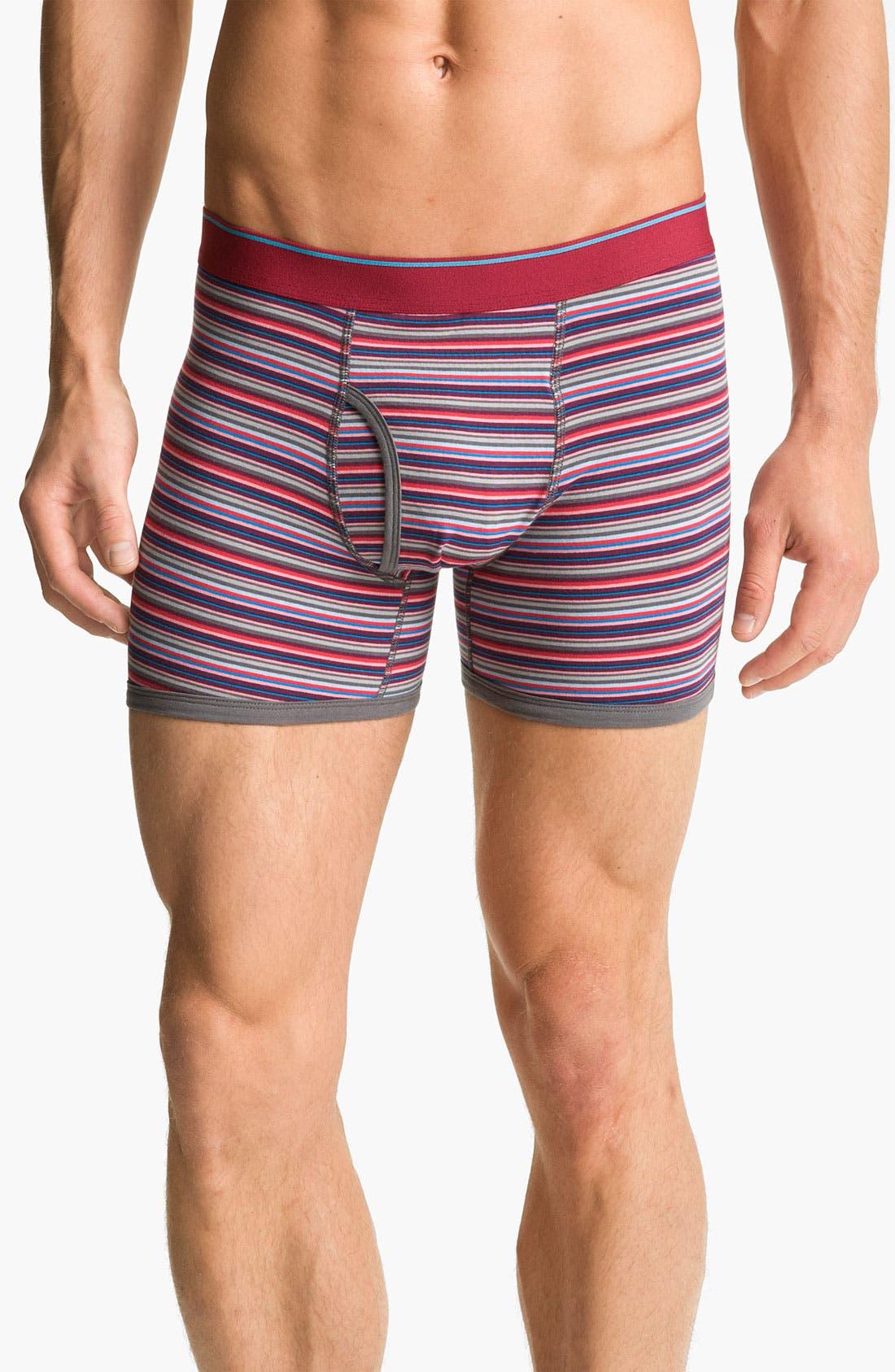 Main Image - Basic Underwear Novelty Stripe Boxer Briefs (3-Pack)