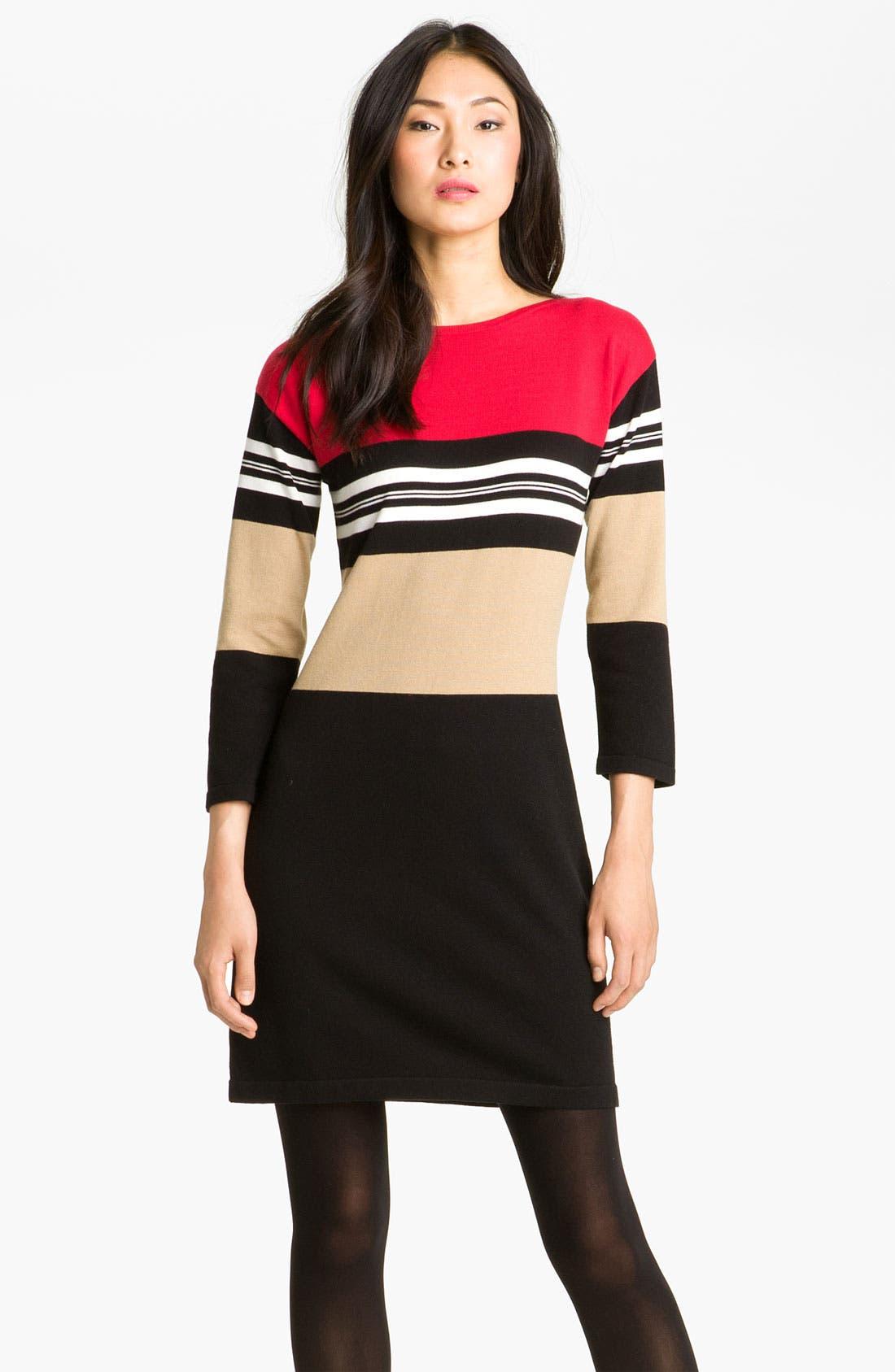 Alternate Image 1 Selected - Calvin Klein Colorblock Knit Sweater Dress