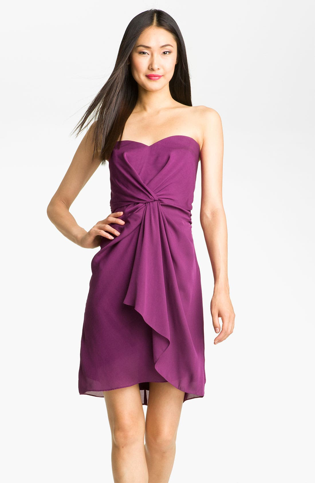 Alternate Image 1 Selected - Max & Cleo 'Jenna' Front Knot Strapless Chiffon Dress