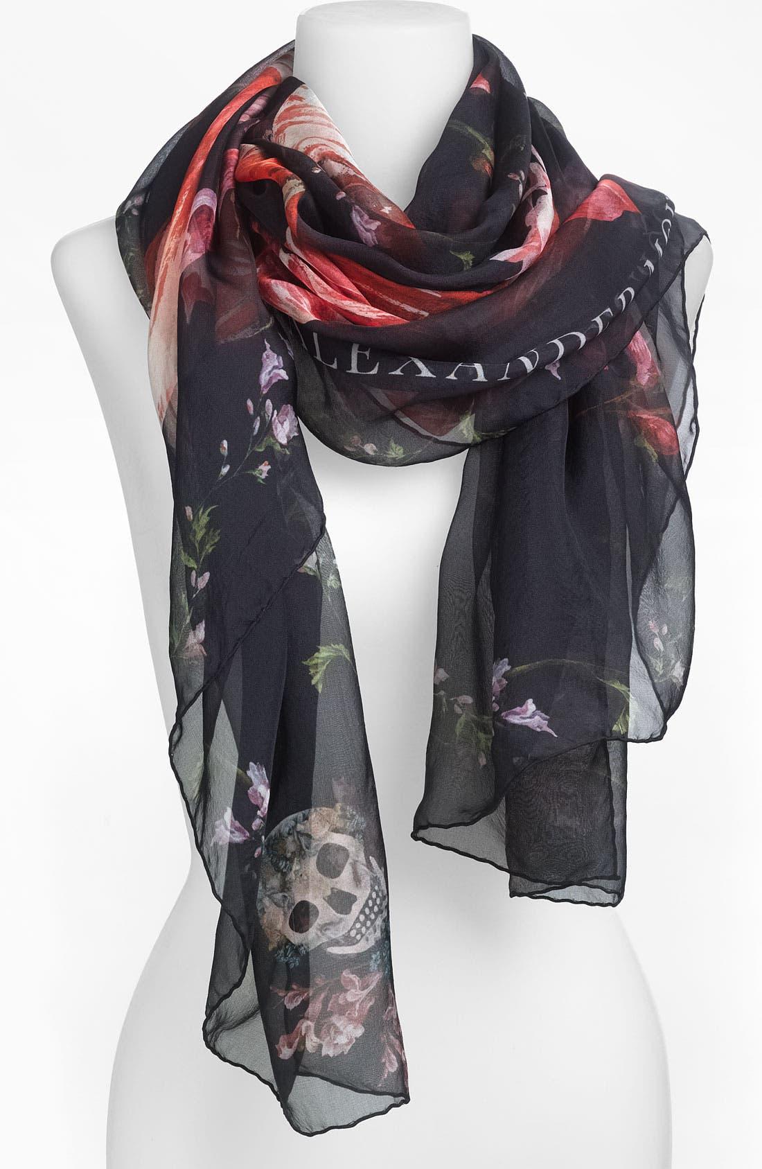 Alternate Image 1 Selected - Alexander McQueen 'Tulip Skull' Scarf