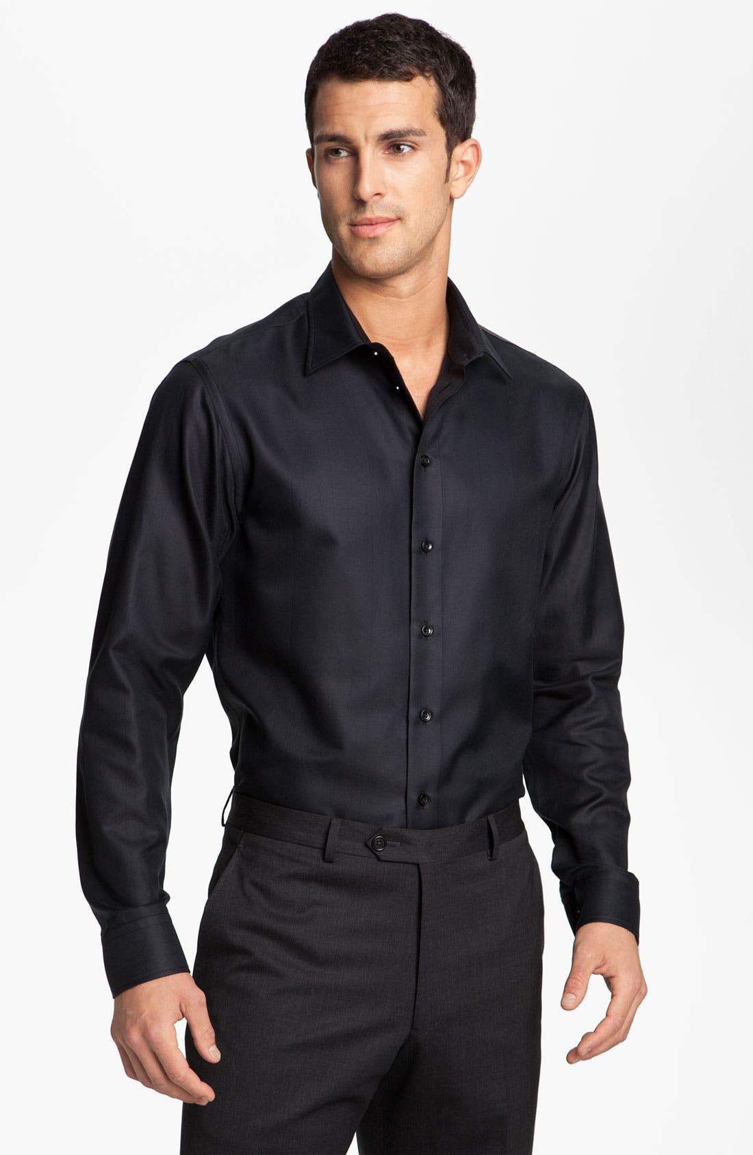 Alternate Image 1 Selected - Armani Collezioni Herringbone Woven Shirt