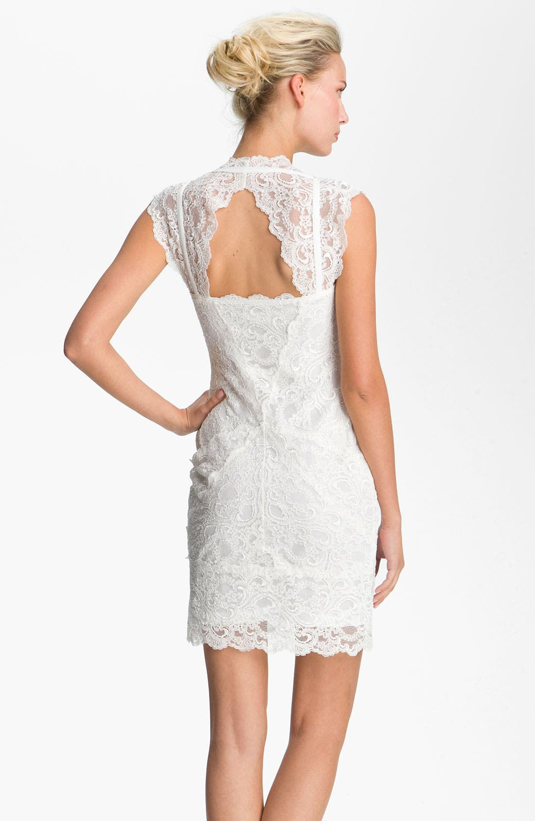 Alternate Image 2  - Nicole Miller Wide Strap Lace Sheath Dress