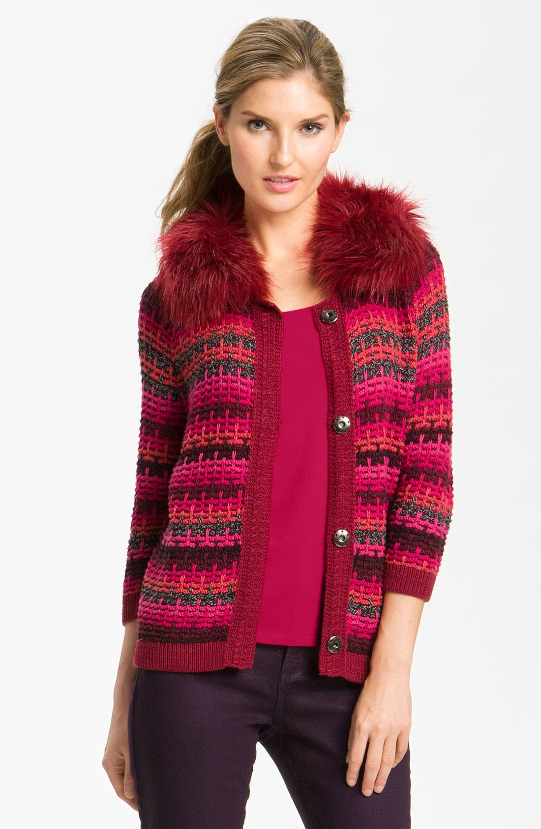 Alternate Image 1 Selected - Nic + Zoe Stripe Cardigan with Detachable Collar
