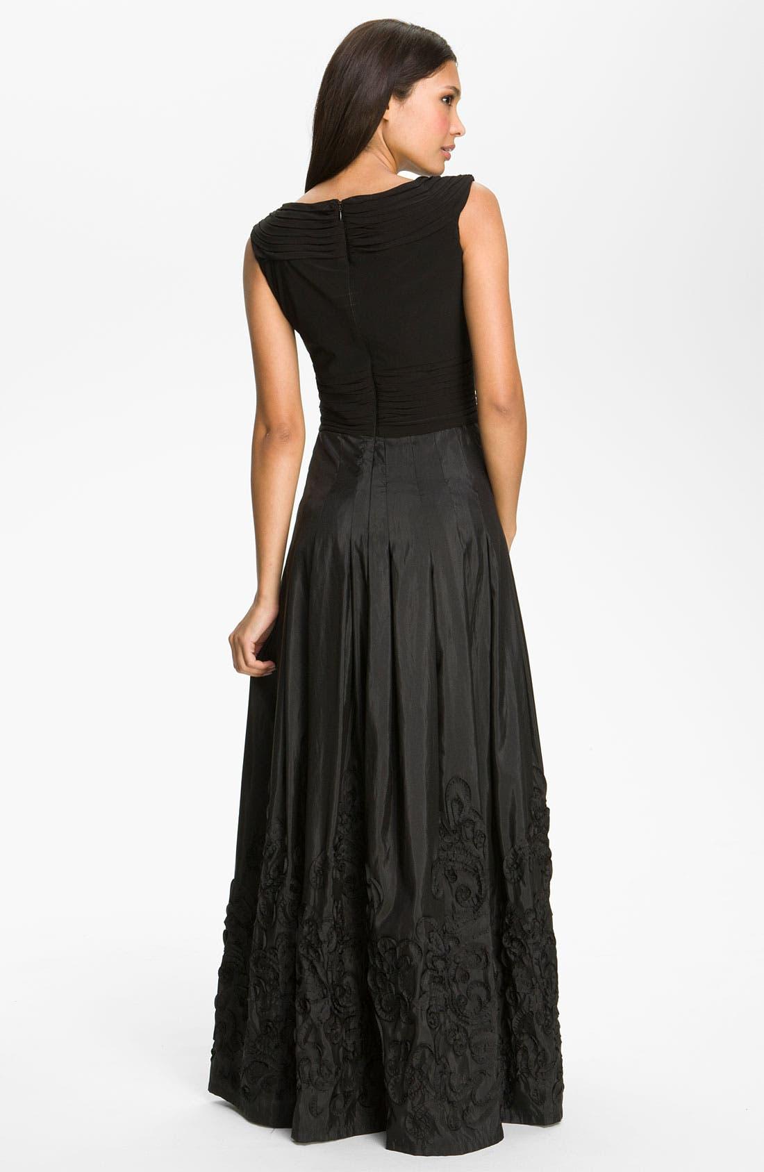 Alternate Image 2  - Patra V-Neck Soutache Mixed Media Gown (Regular & Petite)