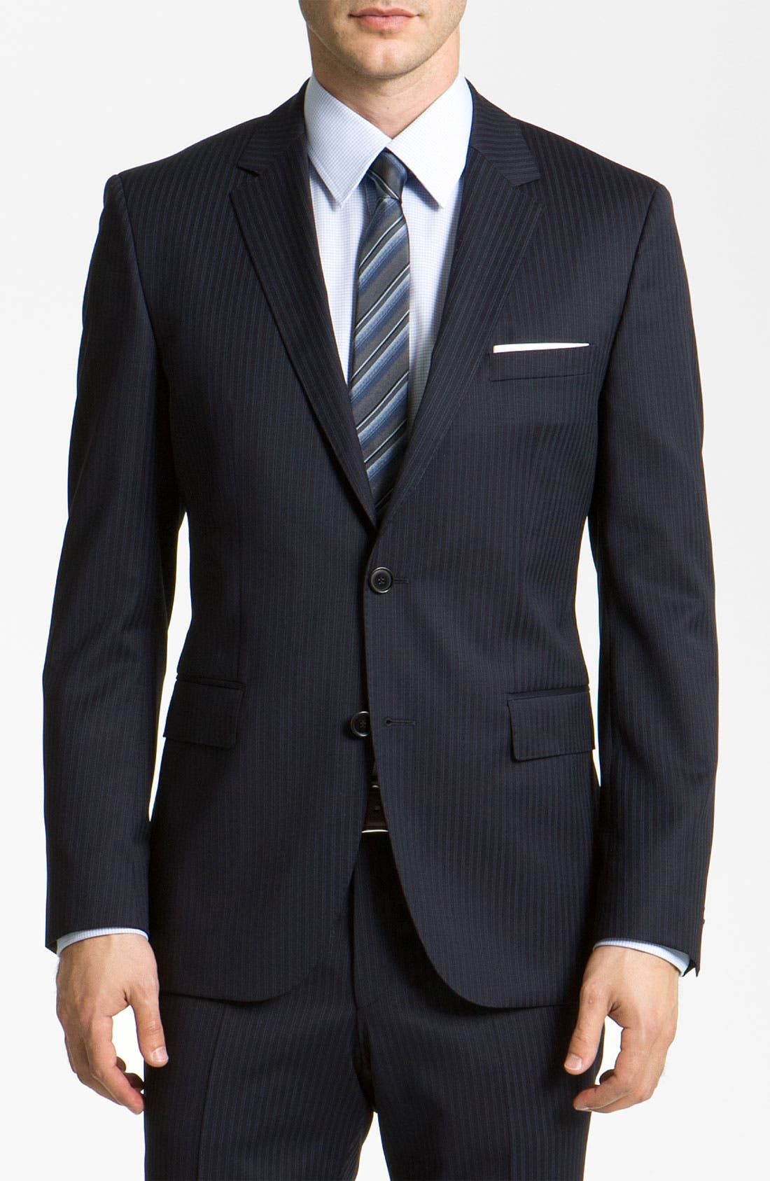 Alternate Image 1 Selected - BOSS Black 'James/Sharp' Trim Fit Stripe Suit