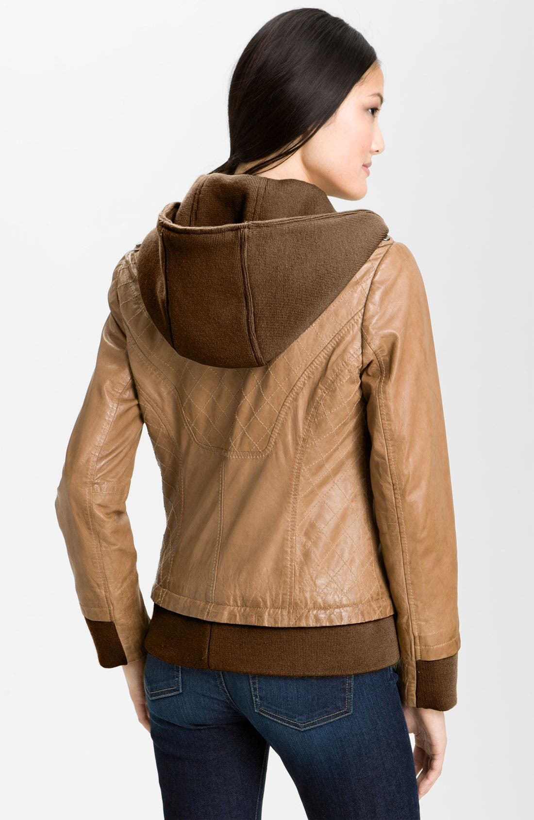 Alternate Image 3  - Bernardo Leather Bomber Jacket with Detachable Hoodie Liner
