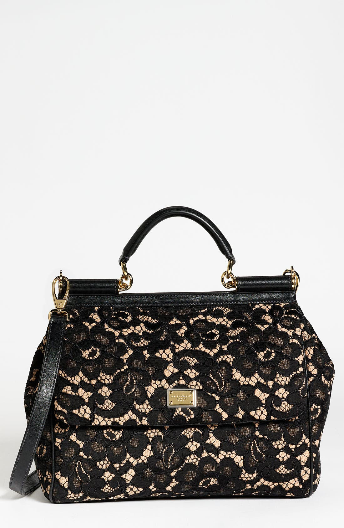 Alternate Image 1 Selected - Dolce&Gabbana 'Miss Sicily' Leather & Lace Satchel